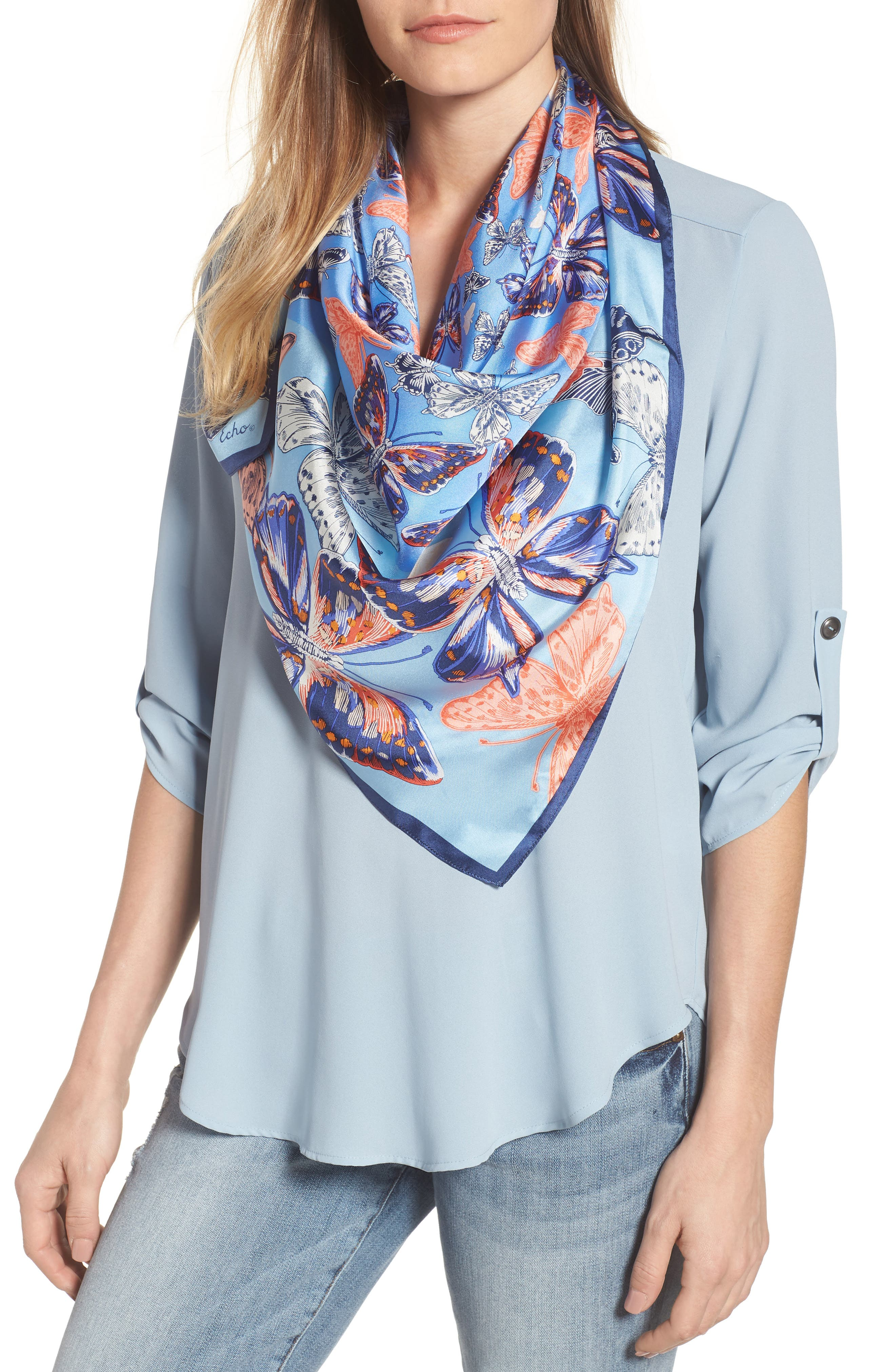 Butterfly Silk Scarf,                         Main,                         color, 425
