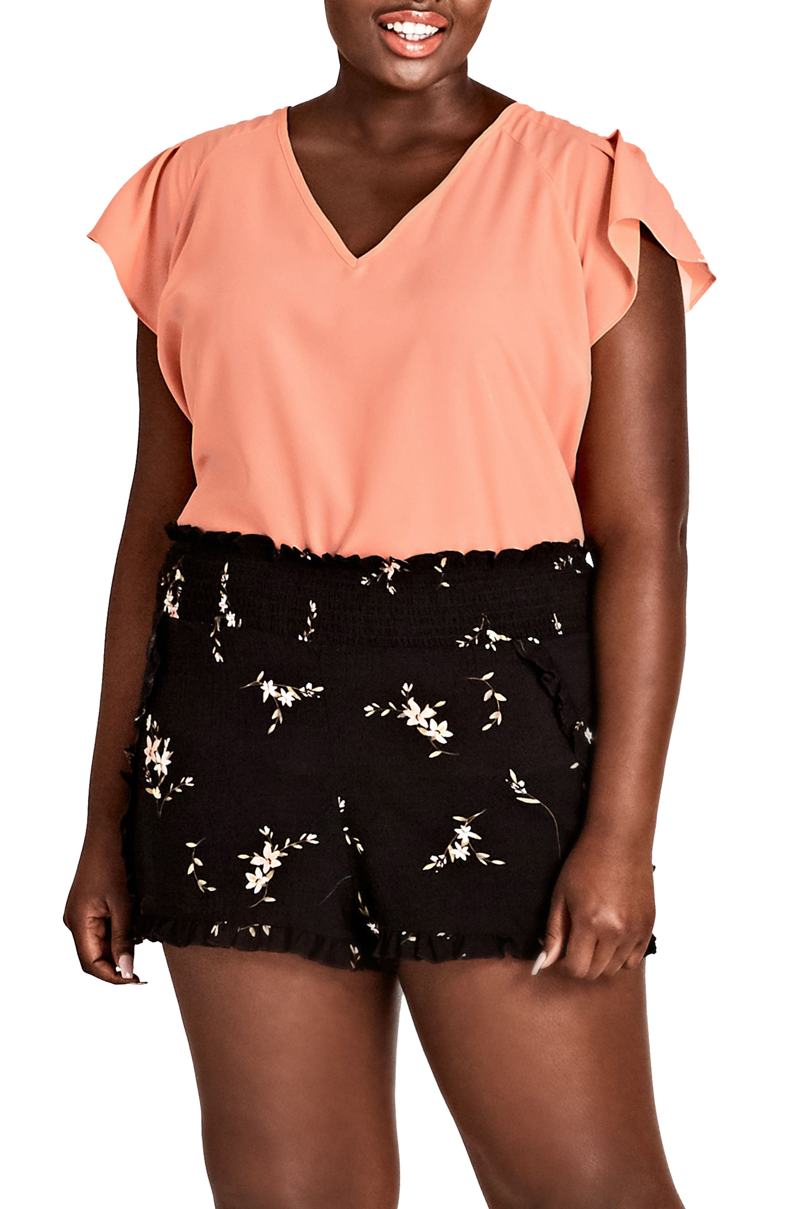 Aerial Floral Pull-On Shorts,                             Alternate thumbnail 3, color,                             002