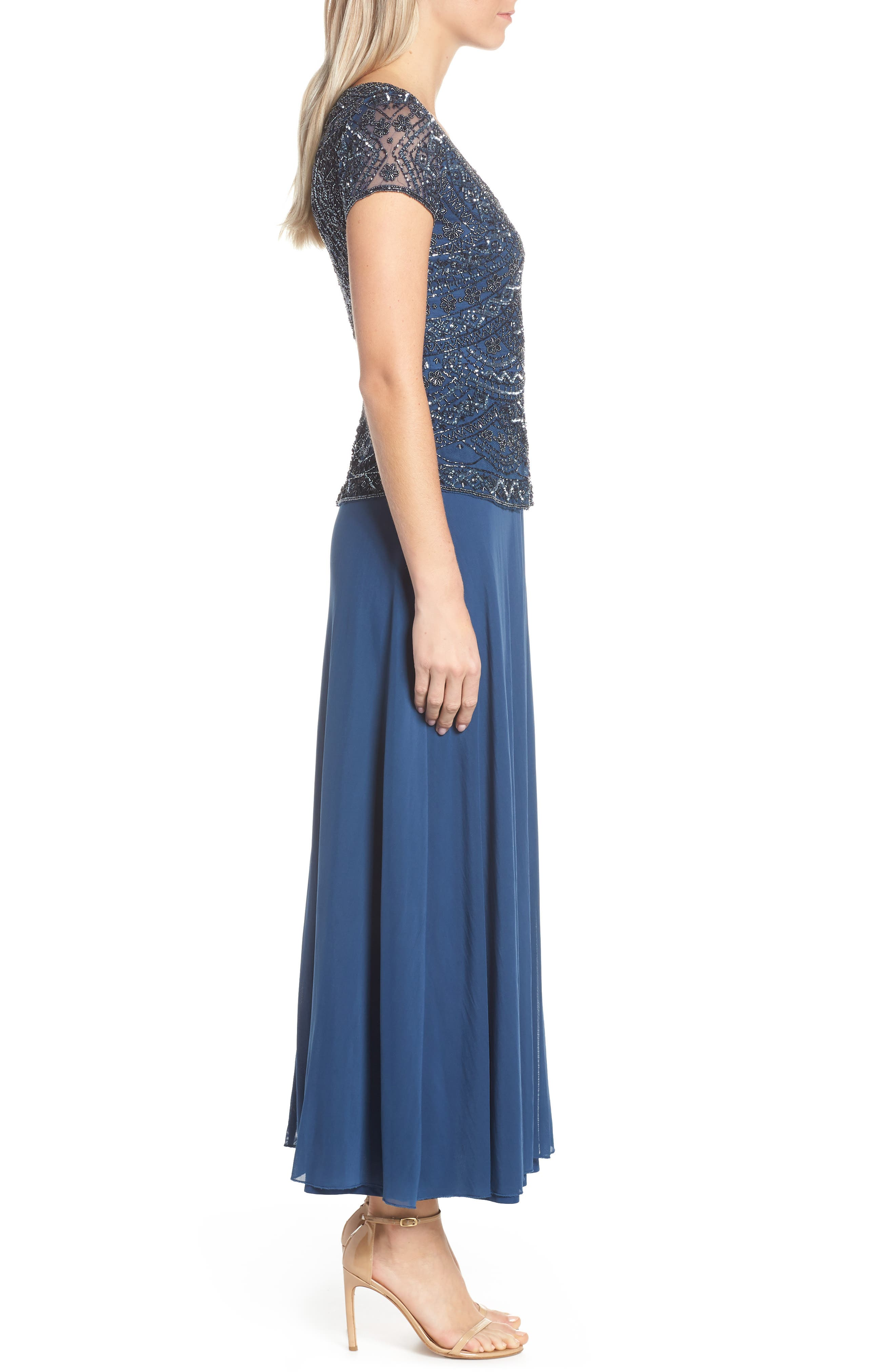 PISARRO NIGHTS,                             Beaded V-Neck Mock Two-Piece Gown,                             Alternate thumbnail 3, color,                             PETROL