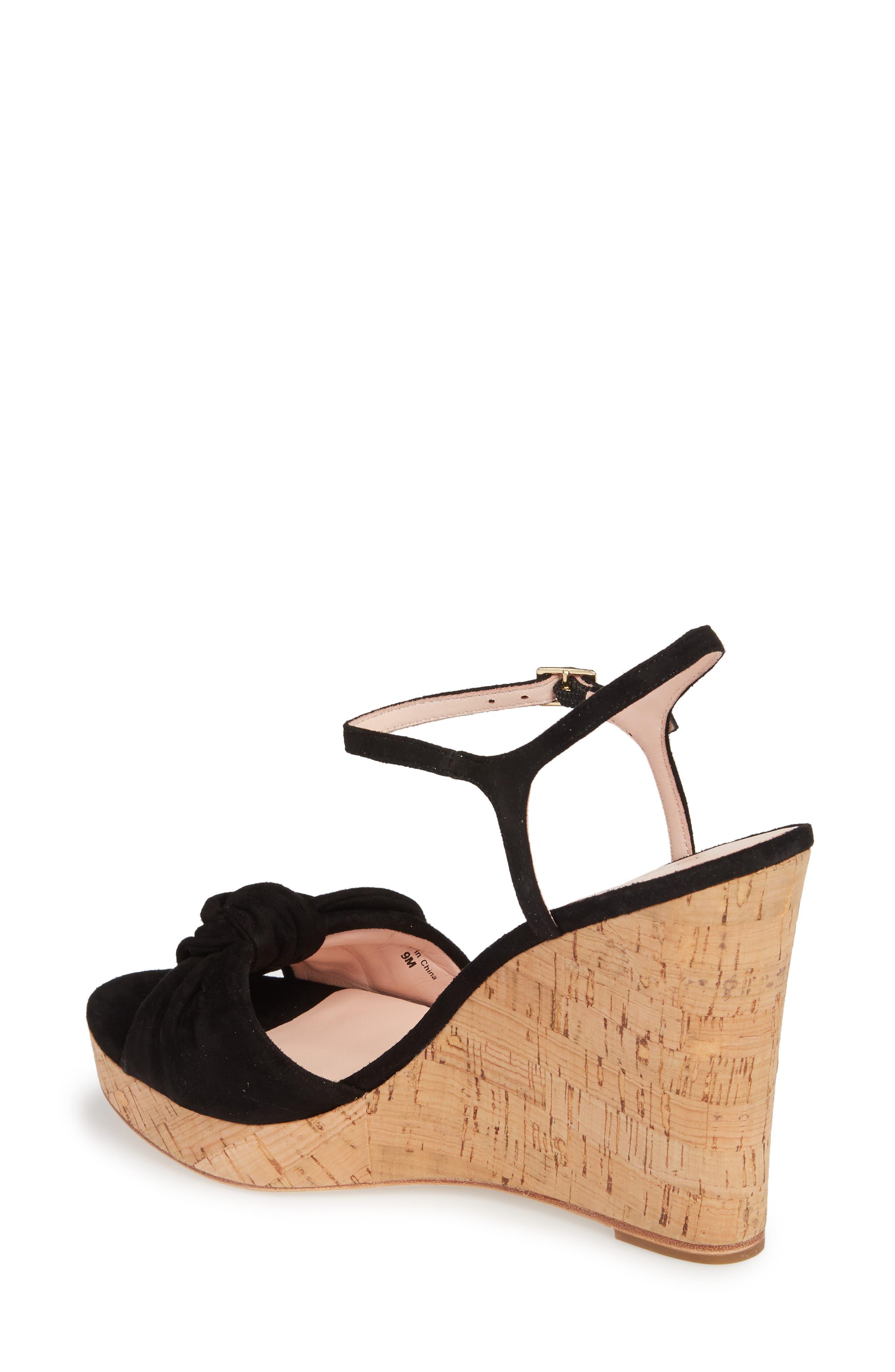janae knot platform wedge sandal,                             Alternate thumbnail 2, color,                             001
