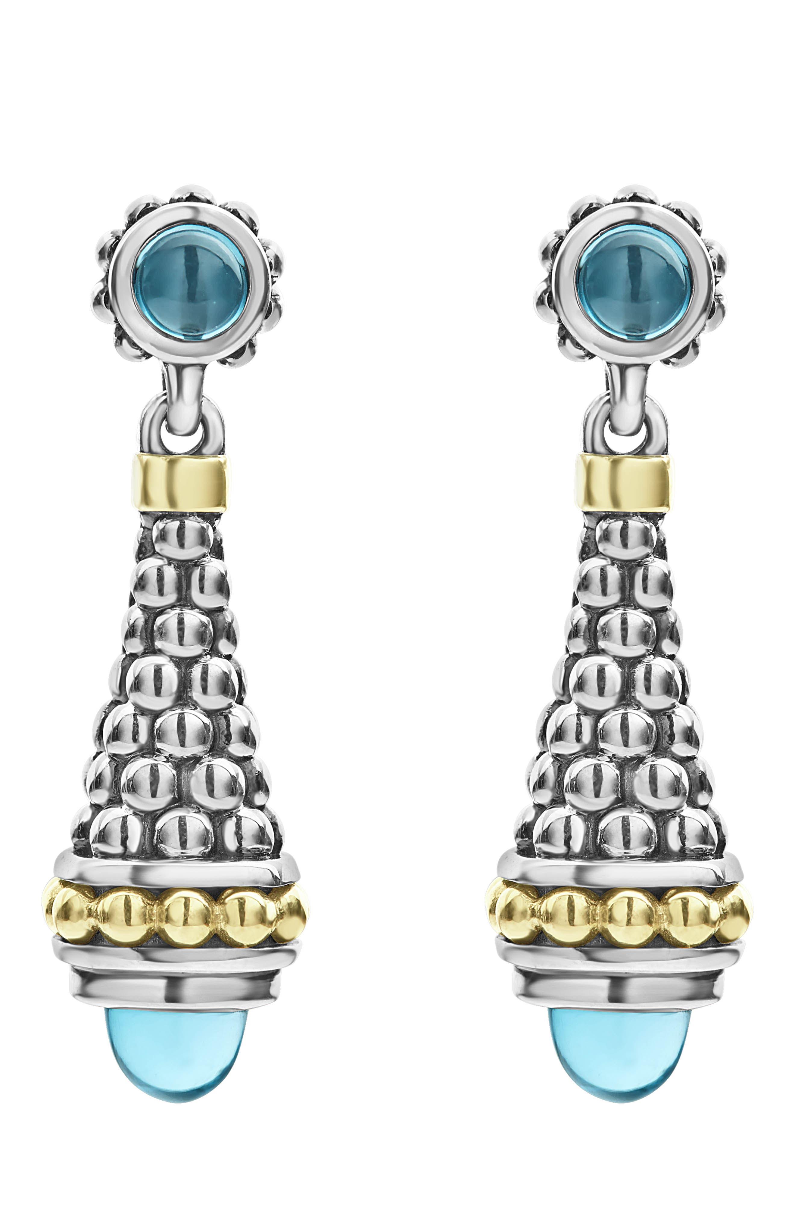 Signature Caviar Stone Cap Drop Earrings,                             Main thumbnail 1, color,                             SILVER/ BLUE TOPAZ