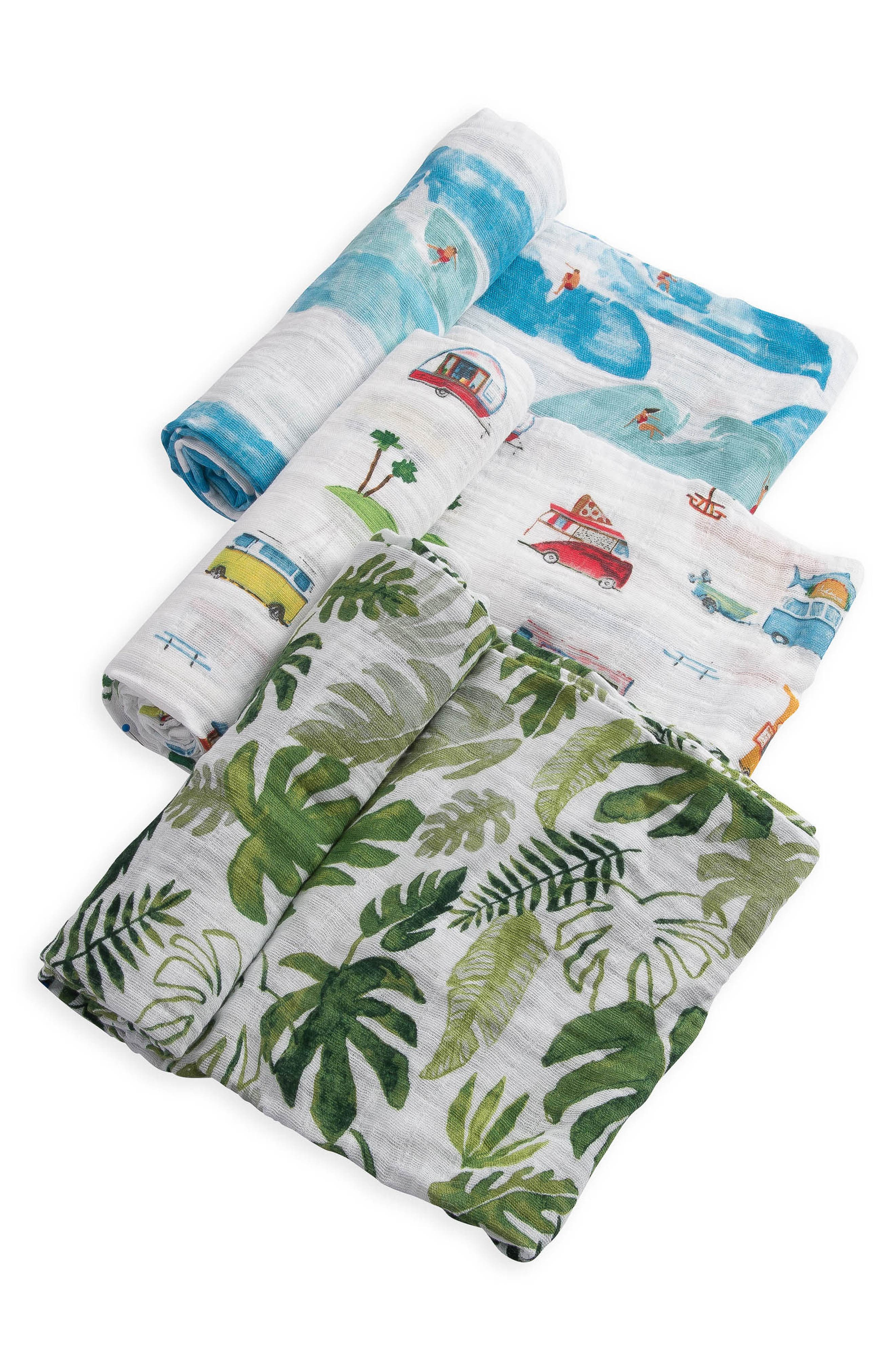 3-Pack Cotton Muslin Blankets,                         Main,                         color, SUMMER VIBE