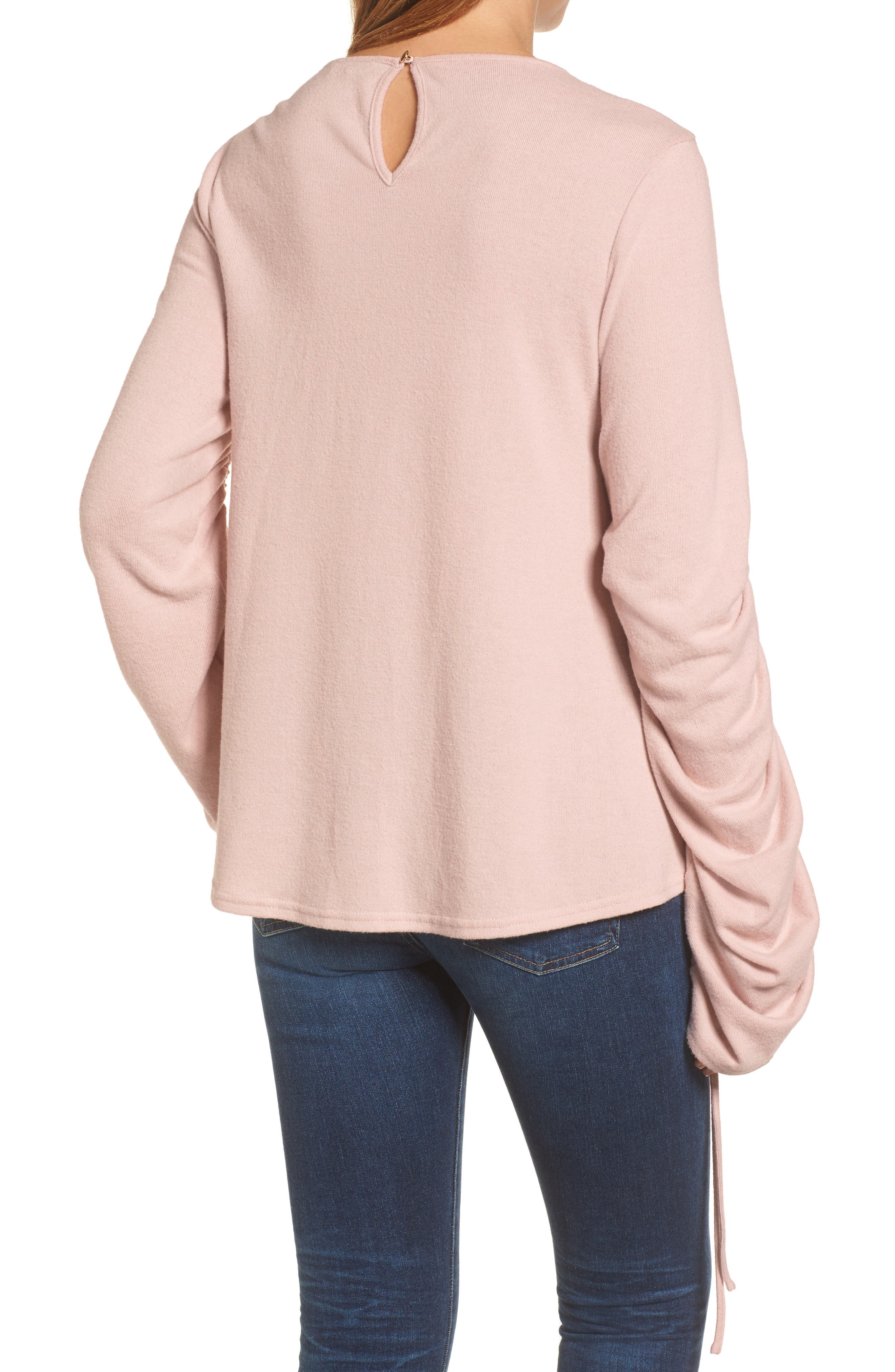 Brushed Jersey Ruched Sleeve Top,                             Alternate thumbnail 4, color,