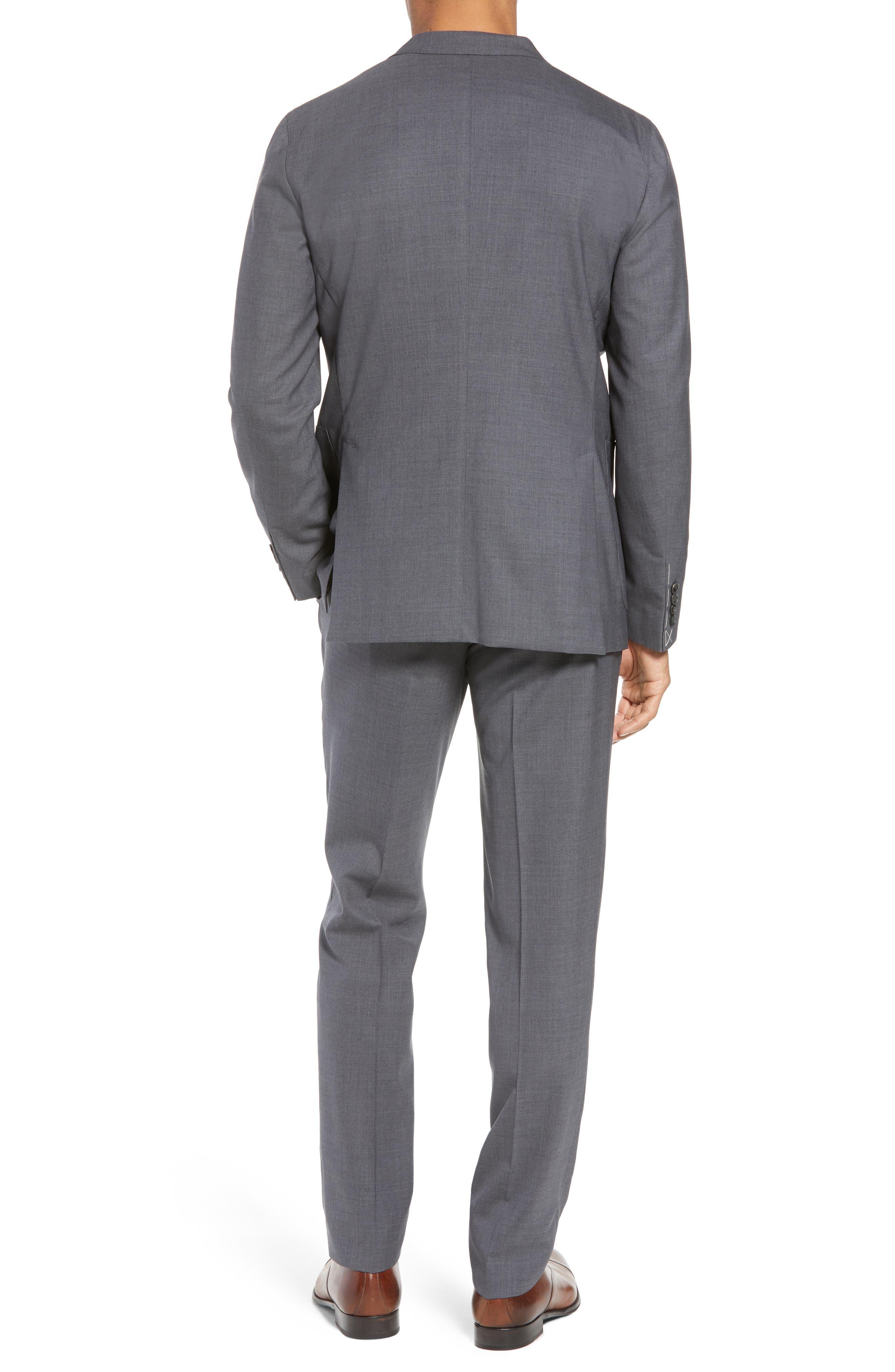 Trim Fit Solid Wool Suit,                             Alternate thumbnail 2, color,                             MEDIUM GREY
