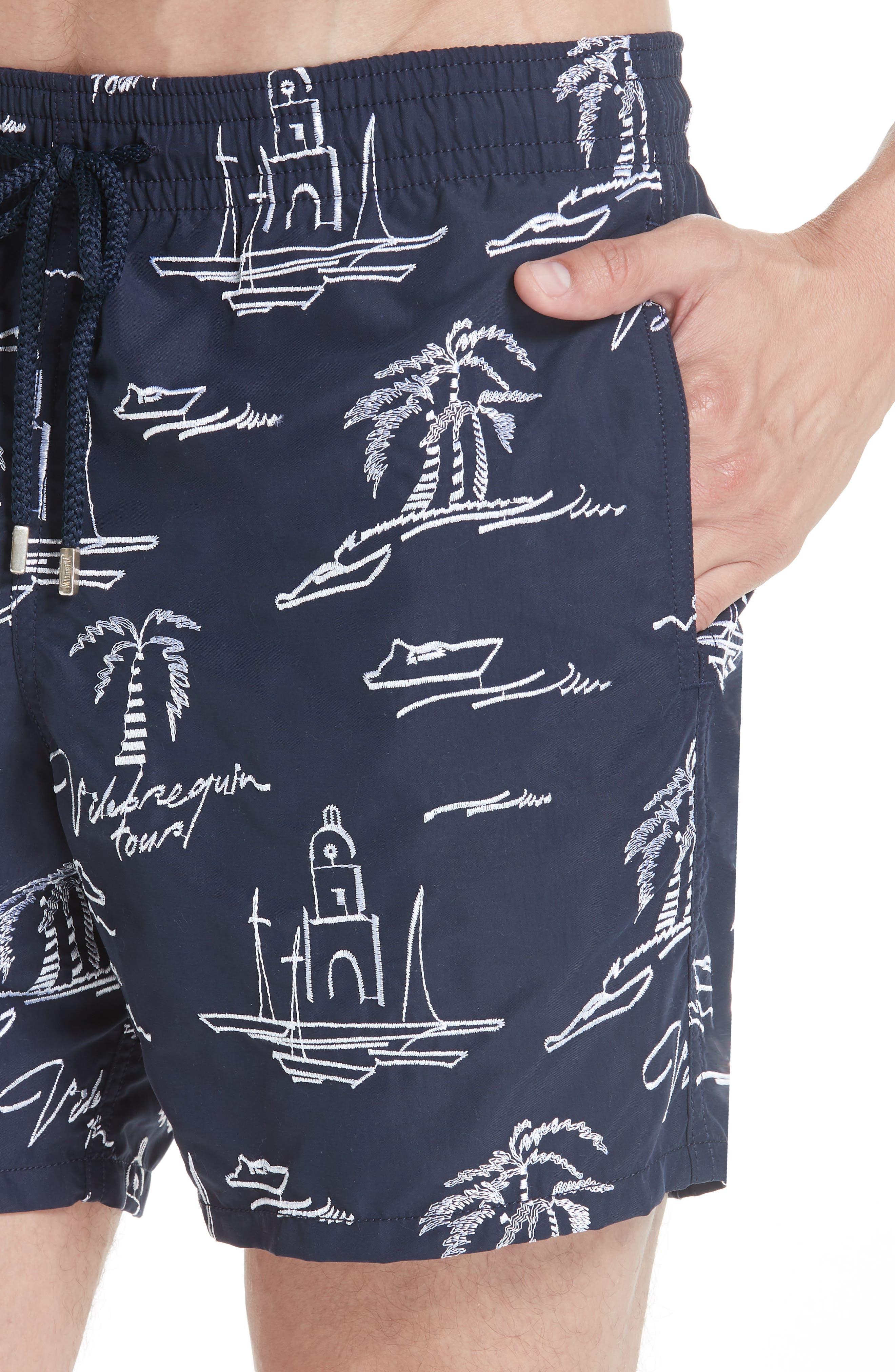 St. Tropez Embroidered Swim Trunks,                             Alternate thumbnail 4, color,                             BLUE