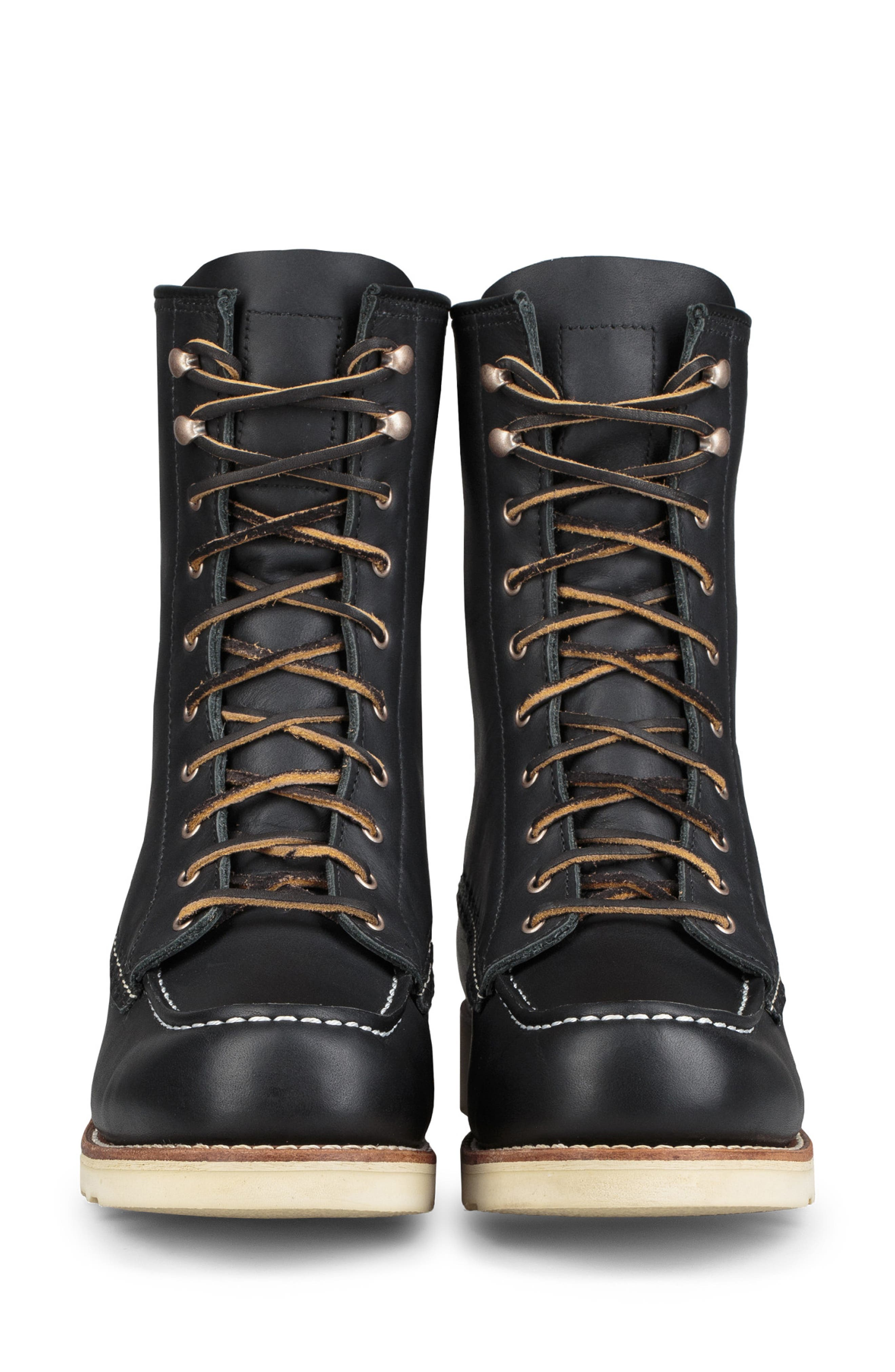RED WING,                             8-Inch Moc Boot,                             Alternate thumbnail 3, color,                             BLACK BOUNDARY LEATHER