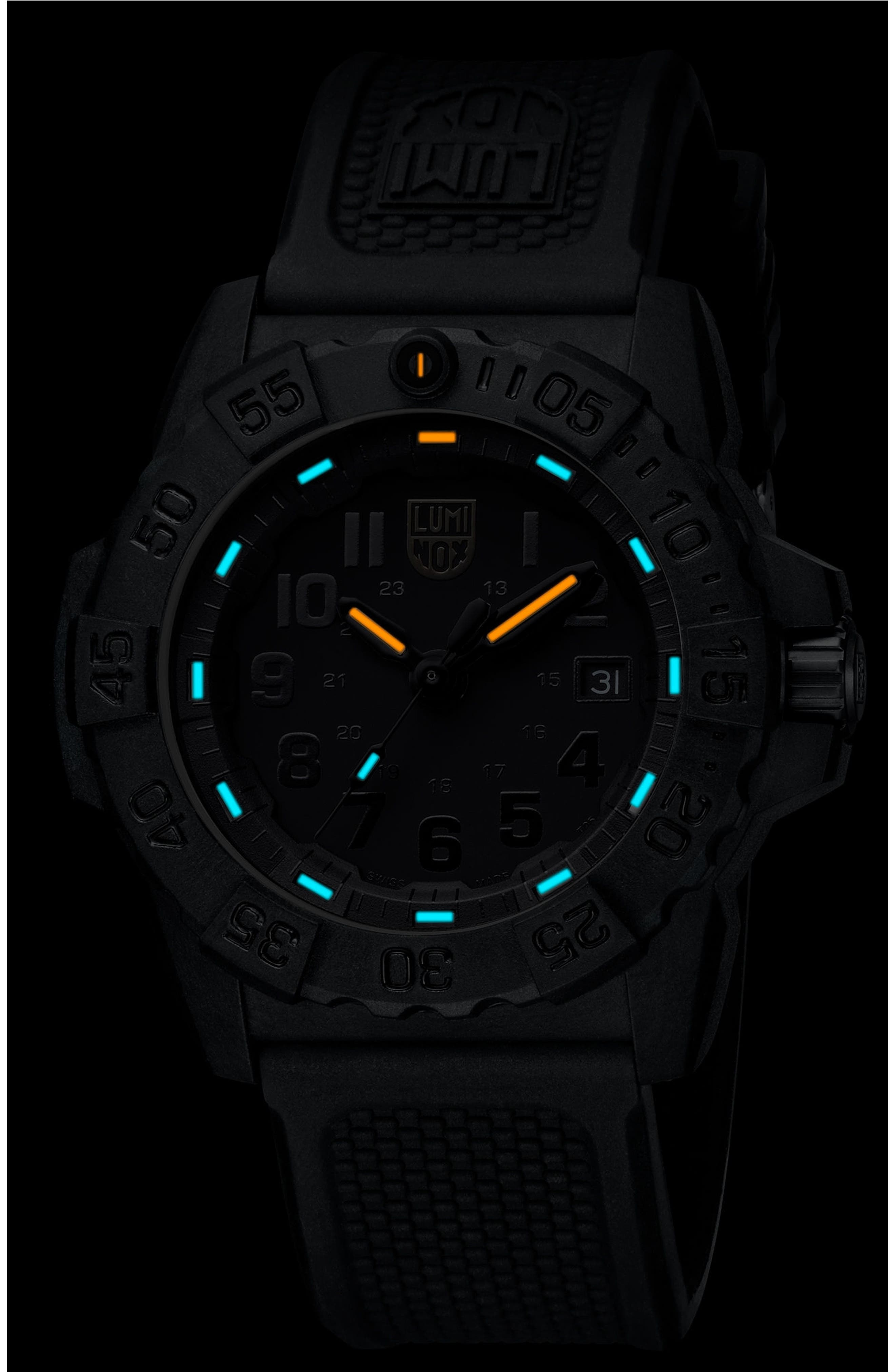 Navy SEAL Trident 3500 Silicone Strap Watch, 45mm,                             Alternate thumbnail 2, color,                             001