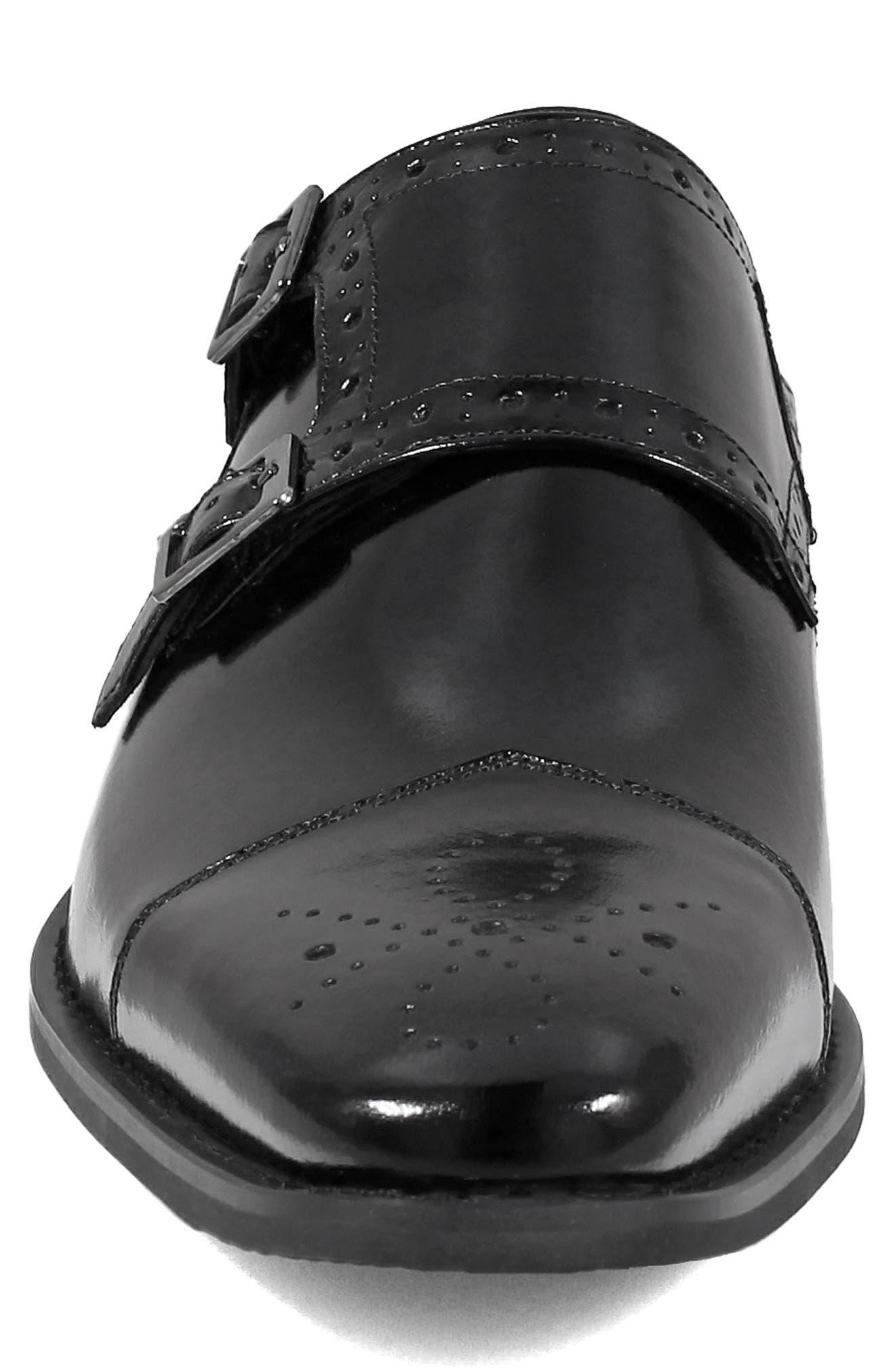 Tayton Cap Toe Double Strap Monk Shoe,                             Alternate thumbnail 4, color,                             001