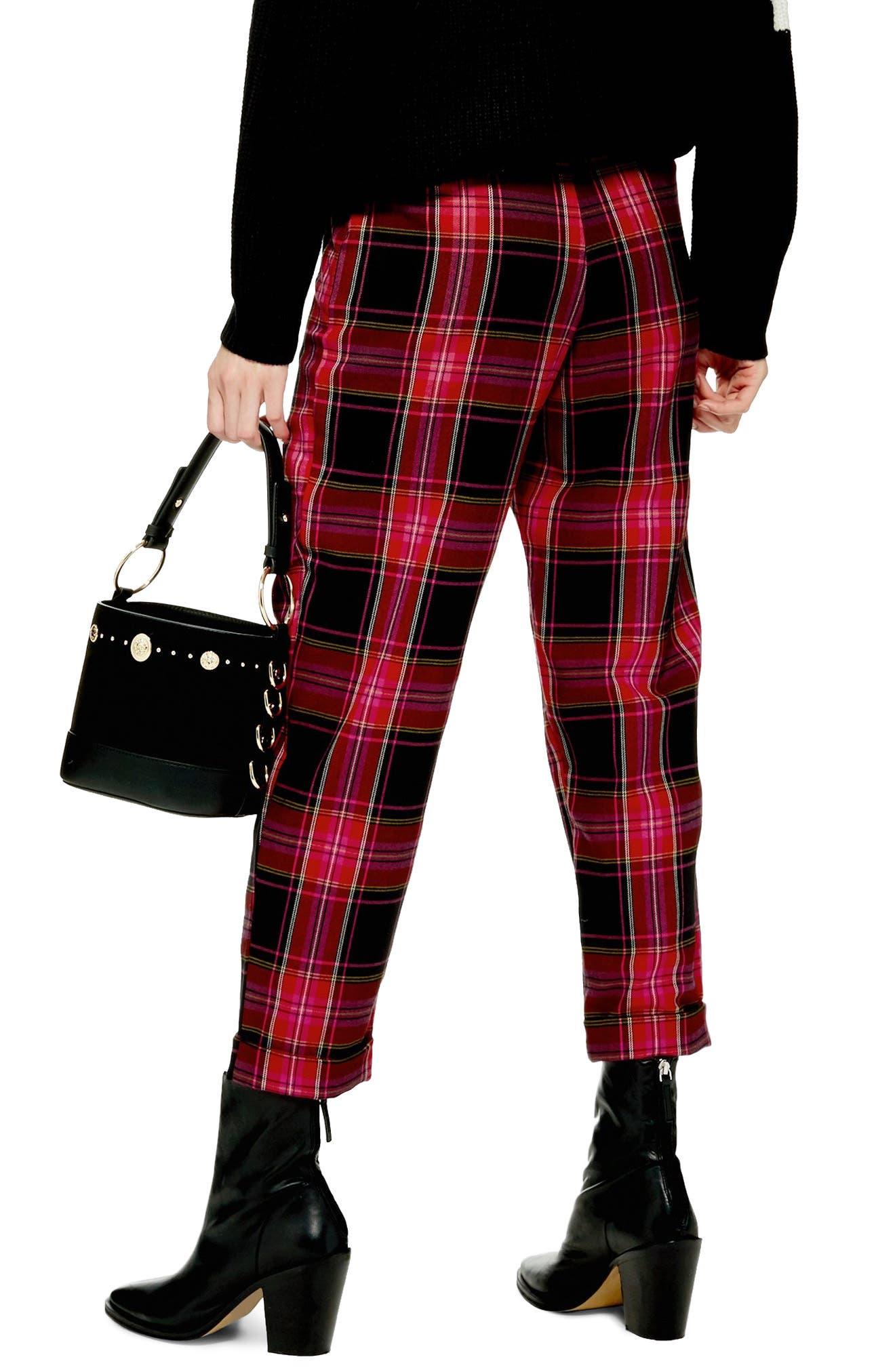 Martha Check Peg Leg Trousers,                             Alternate thumbnail 2, color,                             PINK MULTI
