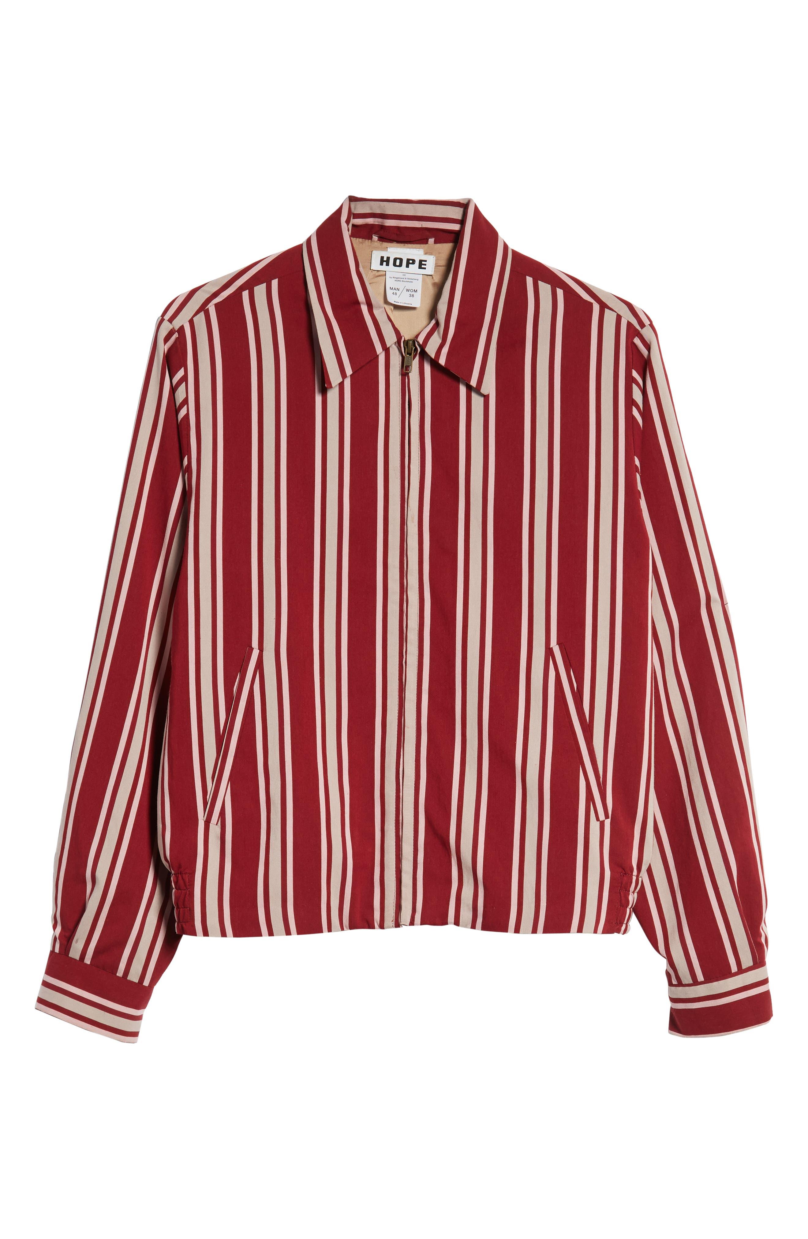 Fifty Regular Fit Shirt Jacket,                             Alternate thumbnail 6, color,                             RED STRIPE