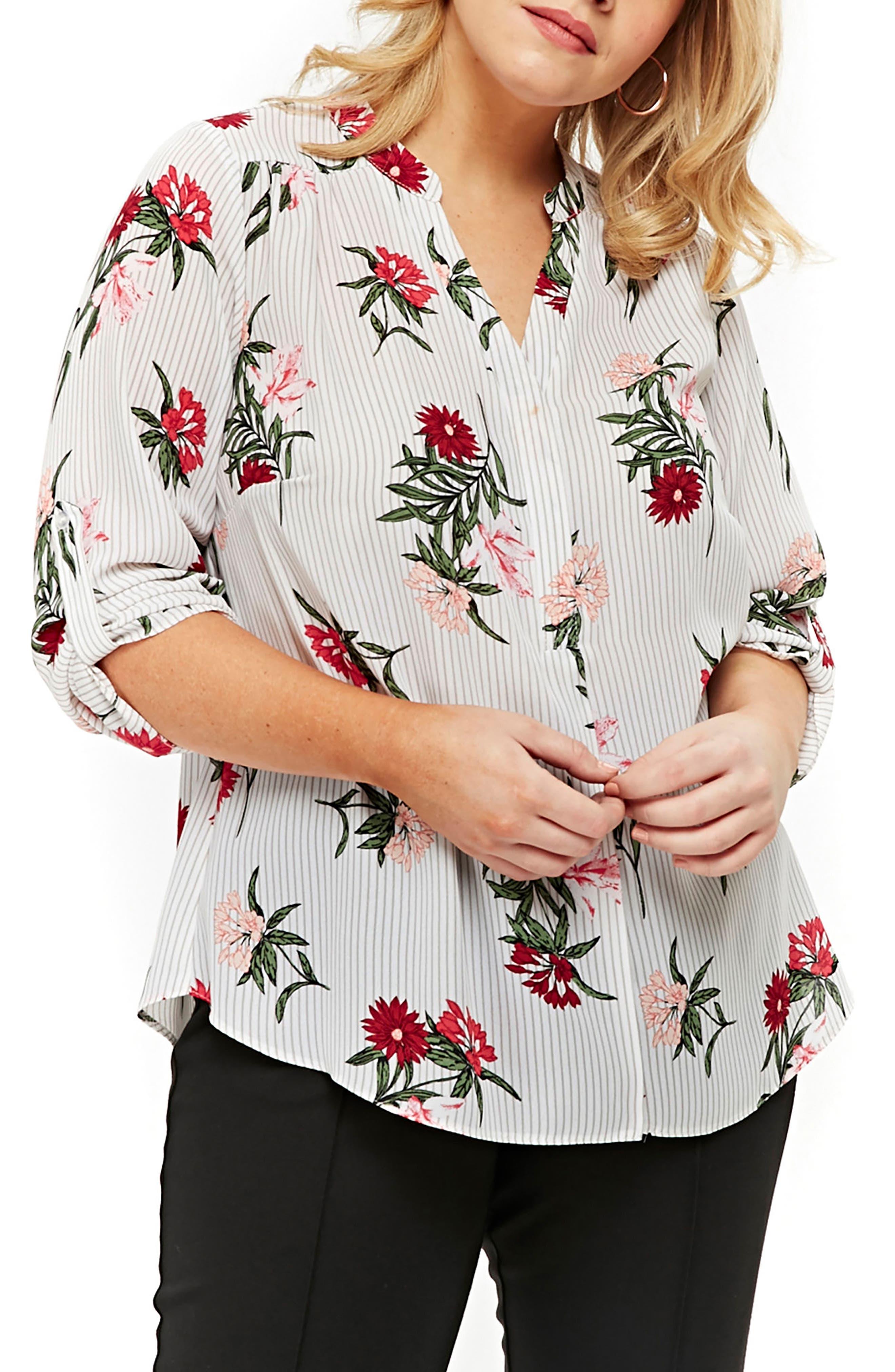 Floral Stripe Shirt,                         Main,                         color, 107