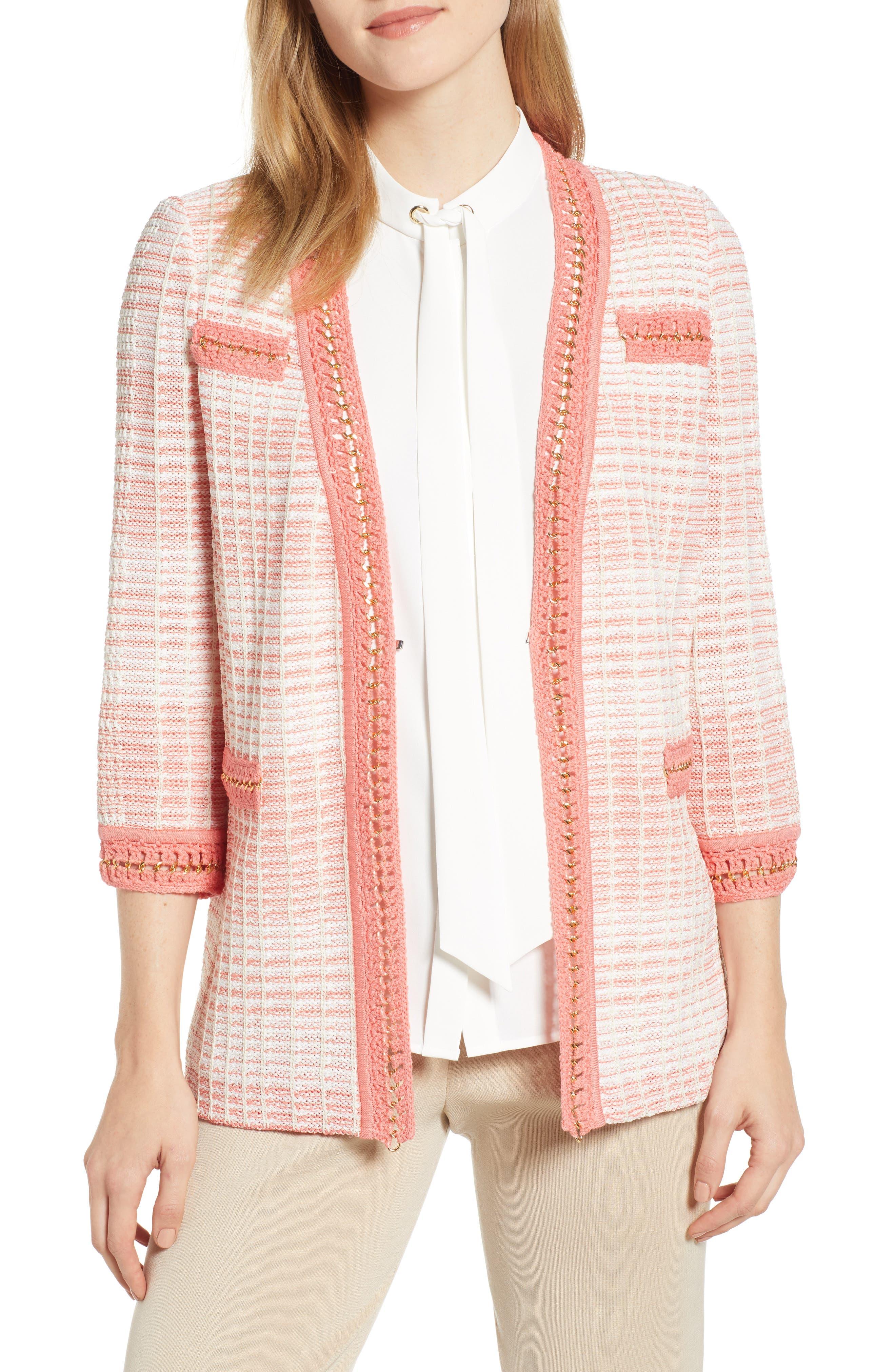 Ming Wang Stripe Knit Jacket, Orange