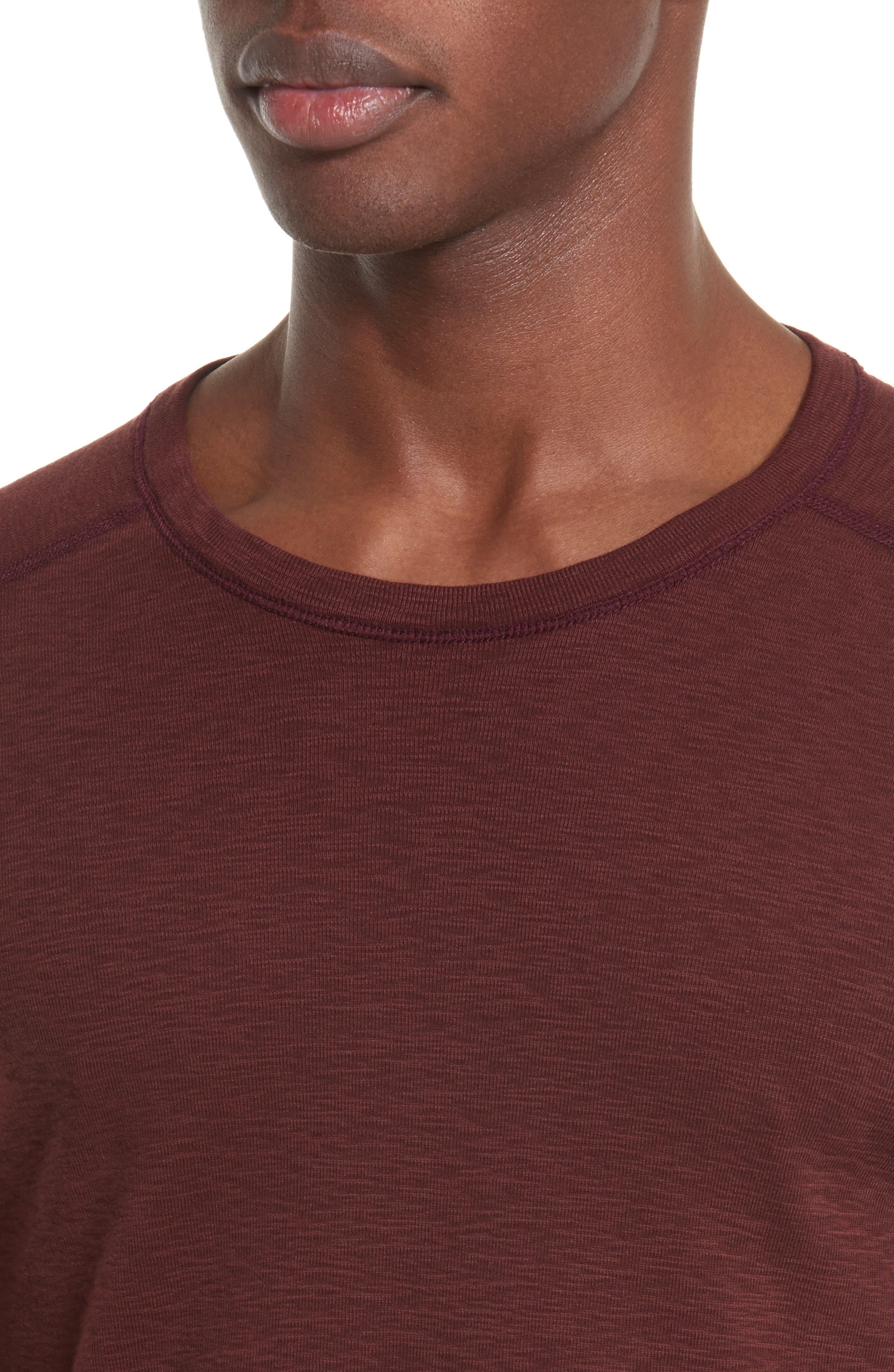Ribbed Slub Cotton T-Shirt,                             Alternate thumbnail 4, color,                             OXBLOOD