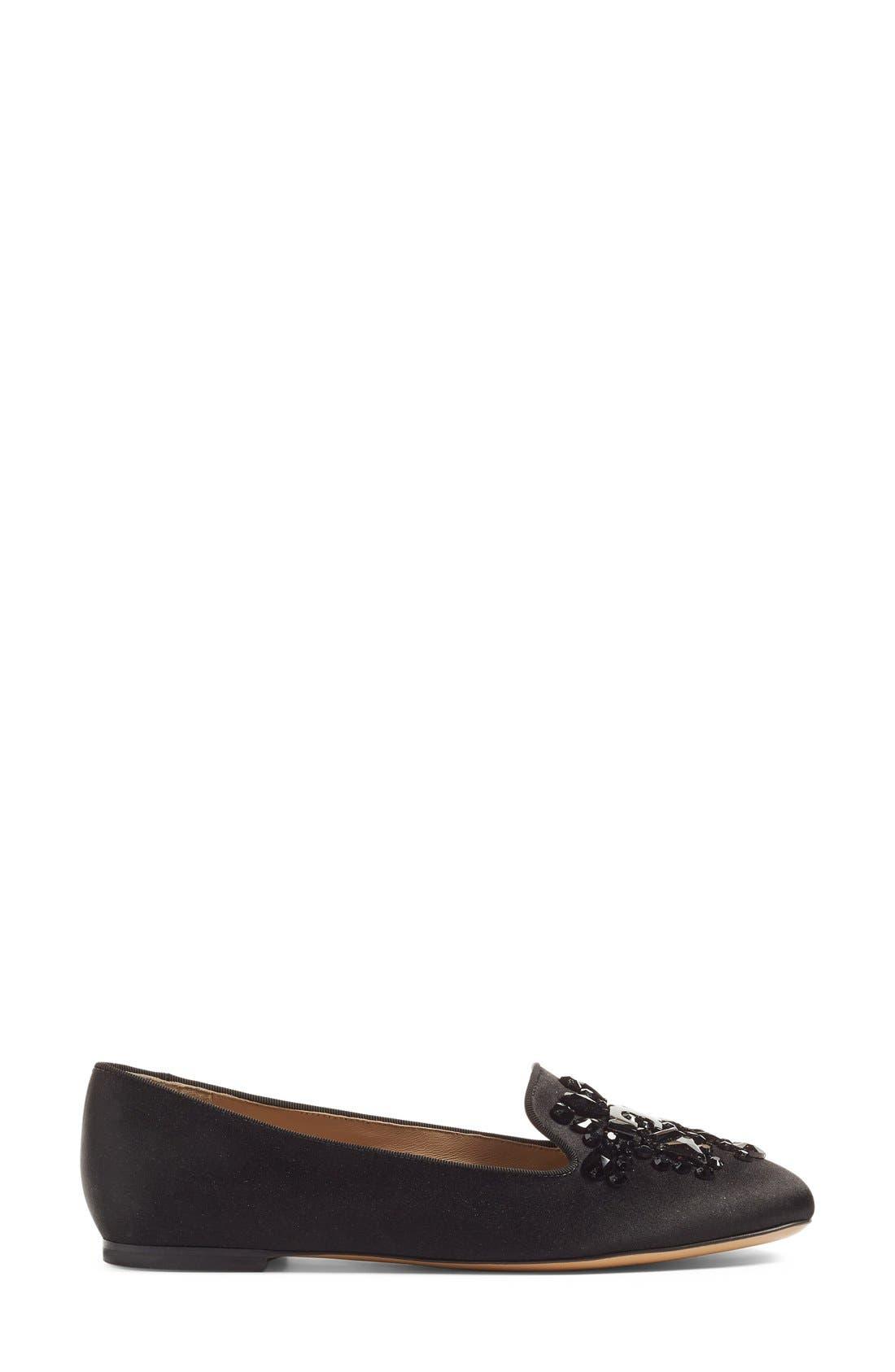 'Delphine' Embellished Loafer,                             Alternate thumbnail 4, color,                             001