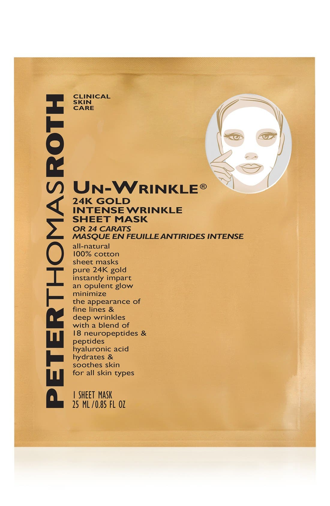 Un-Wrinkle<sup>®</sup> 24k Gold Intense Wrinkle Sheet Mask,                         Main,                         color,