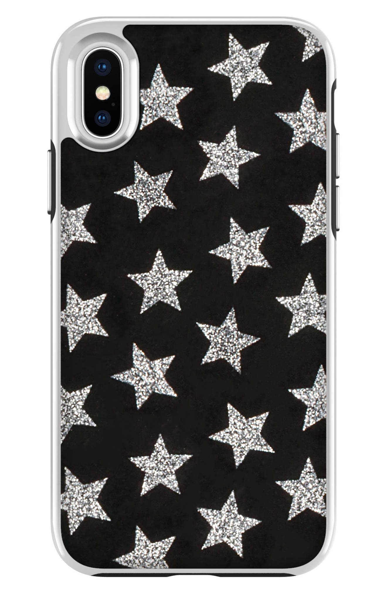 REBECCA MINKOFF,                             Glitterfall iPhone 8 Plus Case,                             Main thumbnail 1, color,                             001