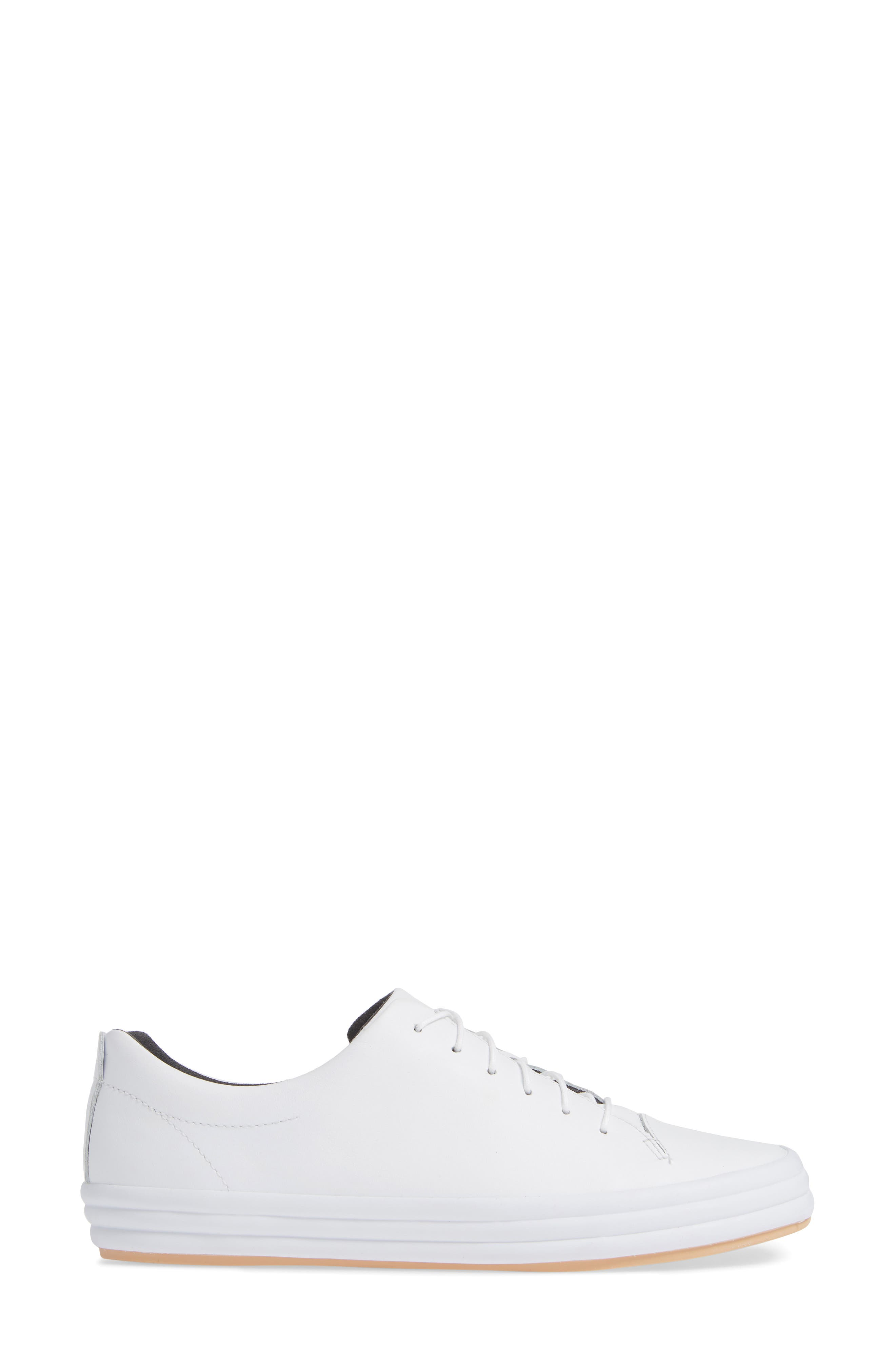 Hoops Sneaker,                             Alternate thumbnail 3, color,                             WHITE LEATHER