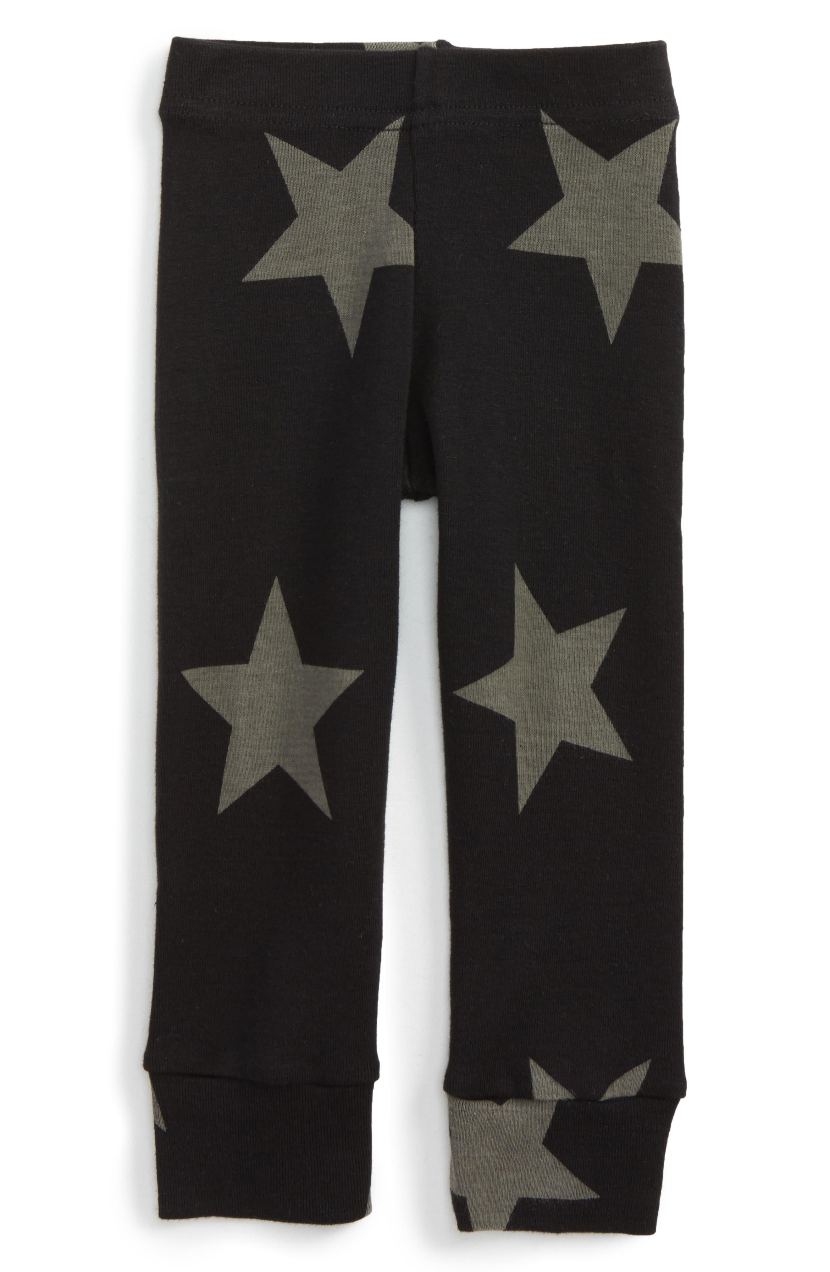 Star Print Leggings, Main, color, BLACK