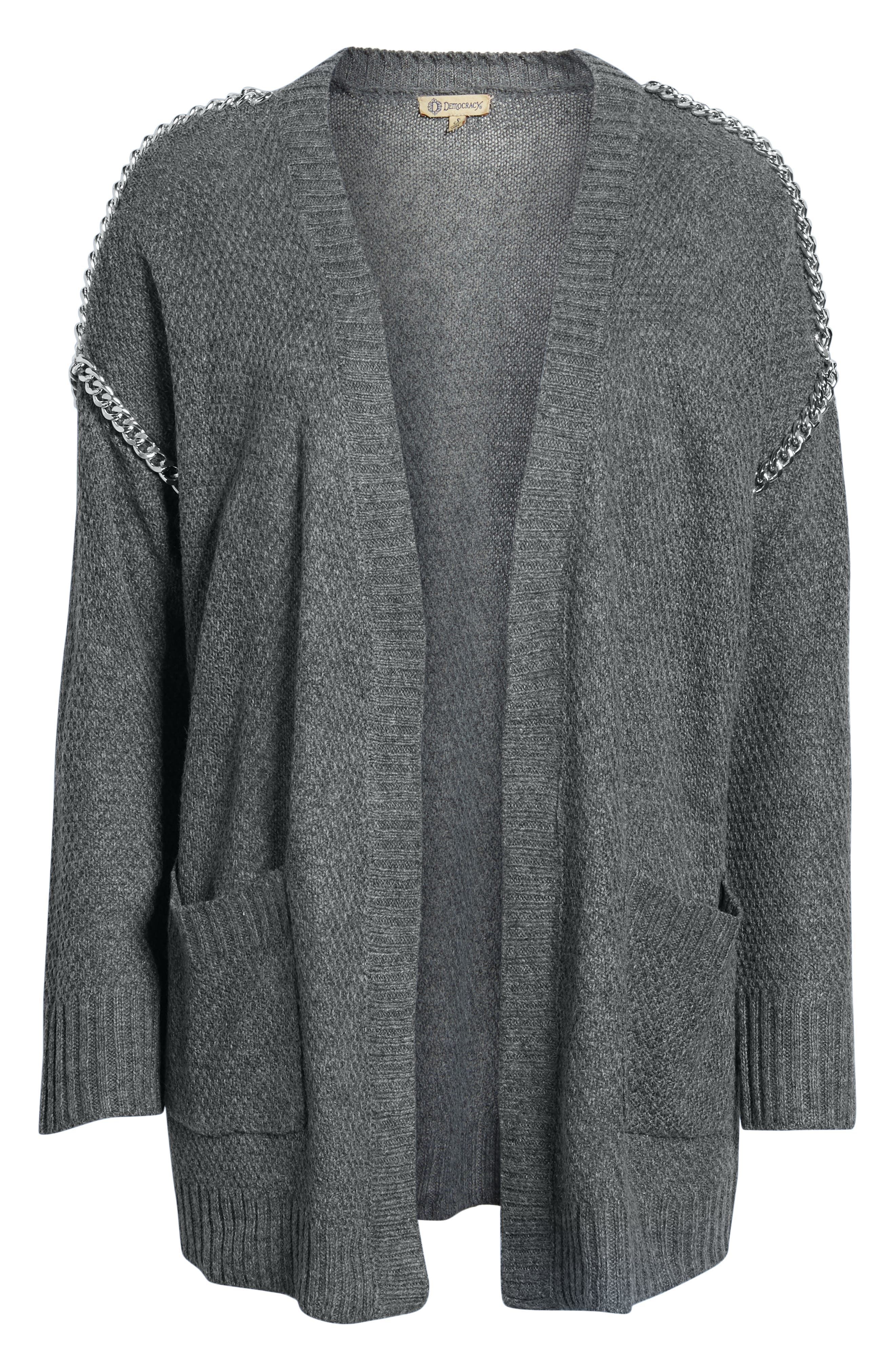 Chain Trim Cardigan,                             Alternate thumbnail 6, color,                             CHARCOAL