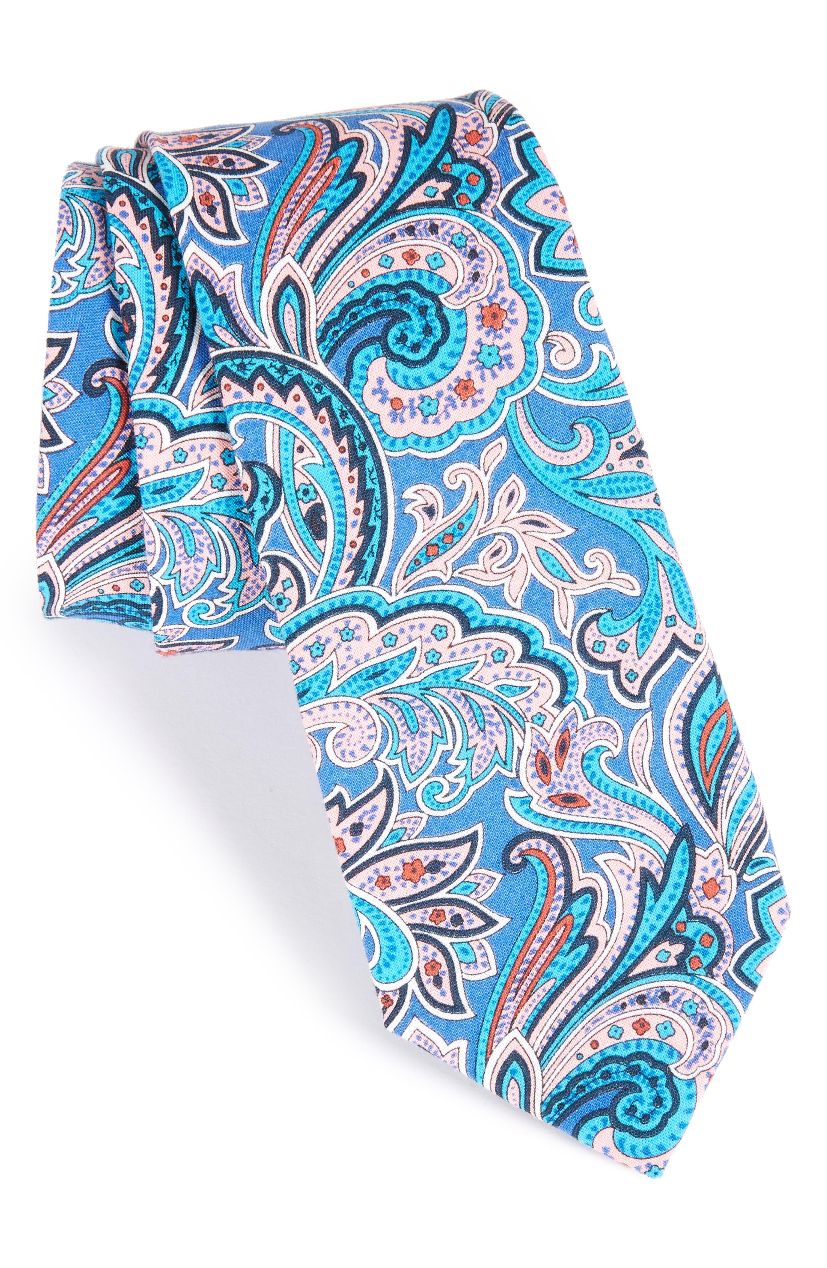 Paisley Cotton Skinny Tie,                         Main,                         color,