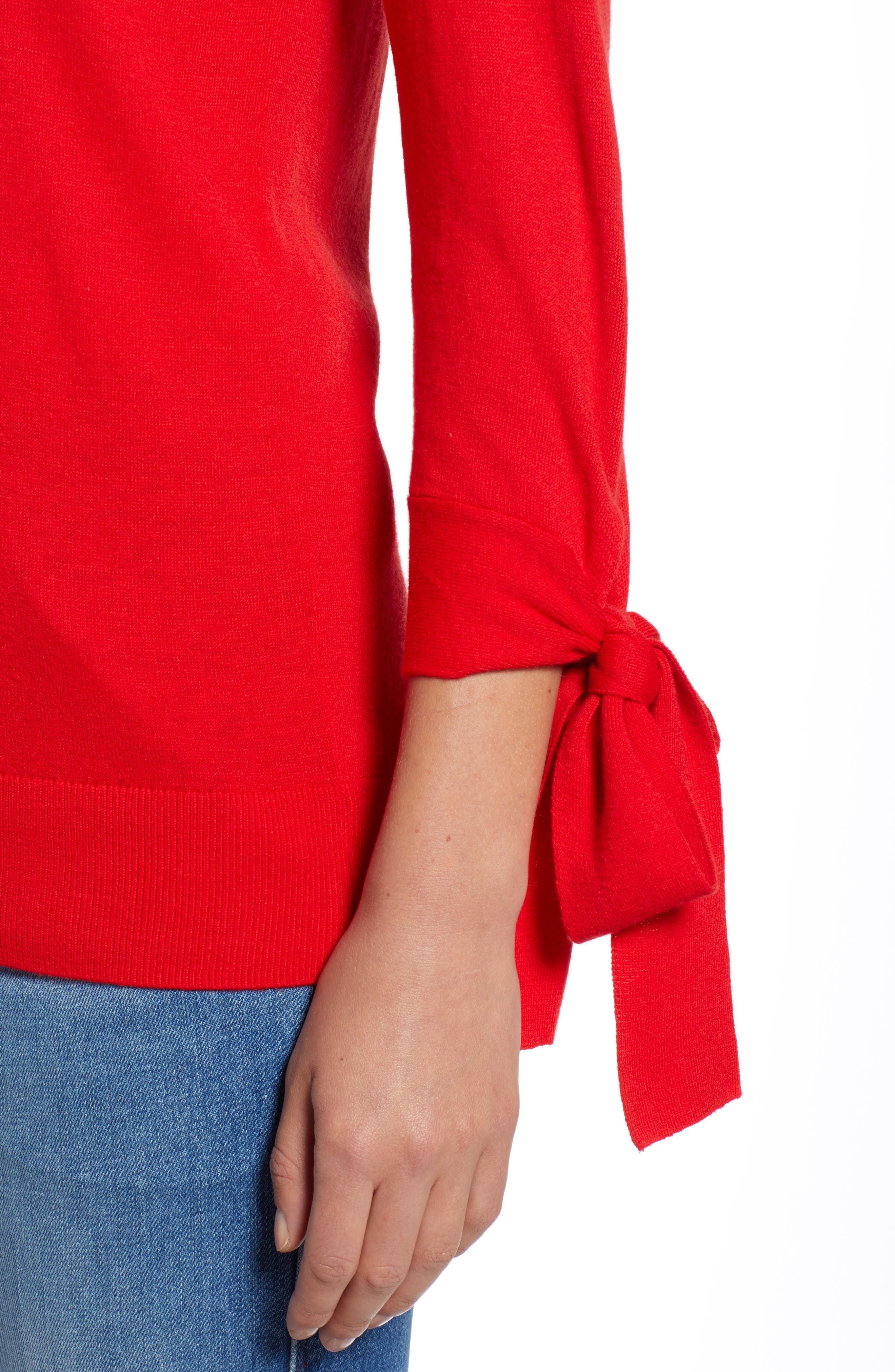Tie Sleeve Crewneck Sweater,                             Alternate thumbnail 4, color,                             RED CHINOISE