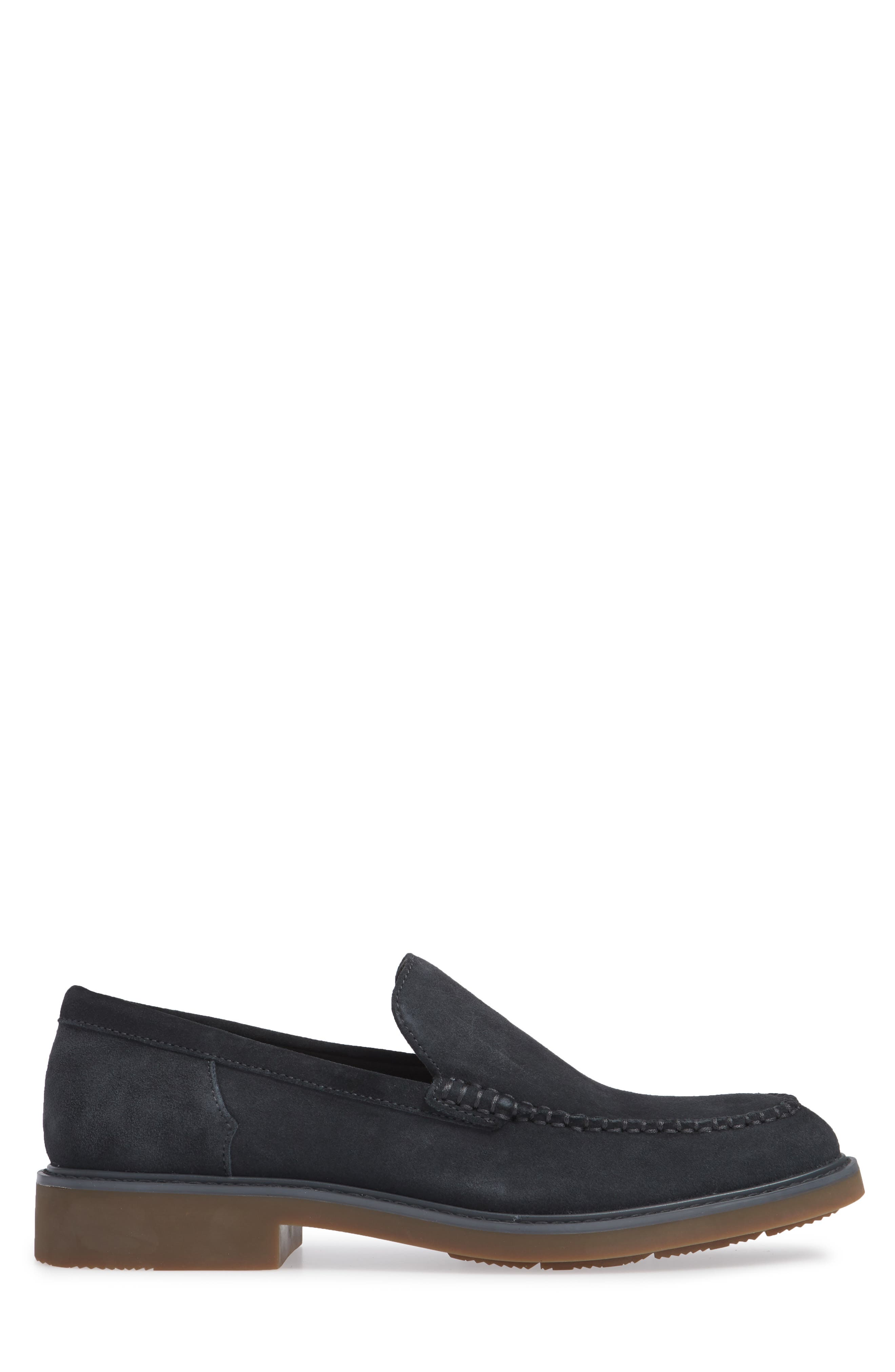 Vance Apron Toe Loafer,                             Alternate thumbnail 3, color,                             STEEL GREYSTONE CALF SUEDE