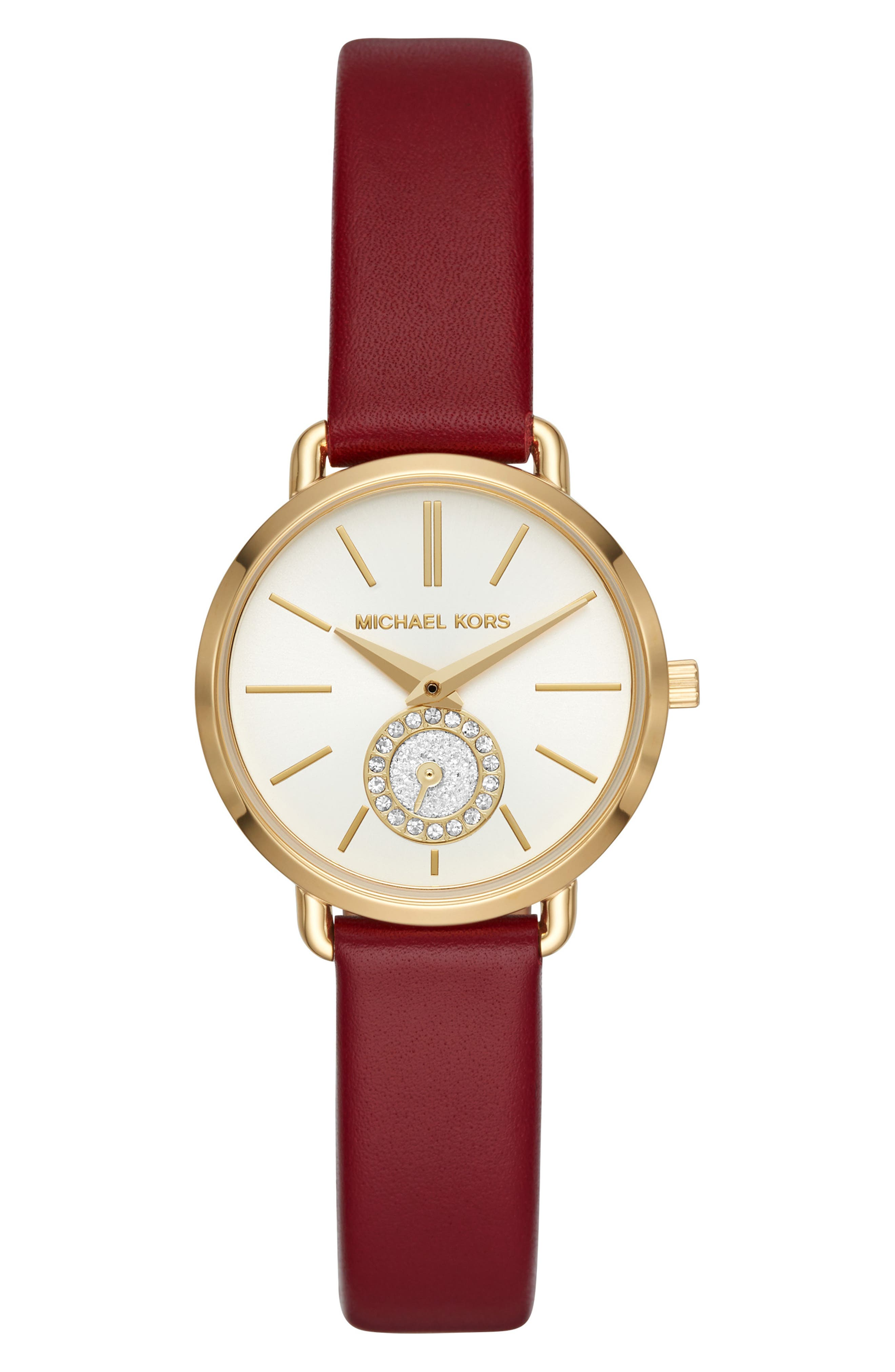 Mini Portia Leather Strap Watch, 28mm,                             Main thumbnail 5, color,