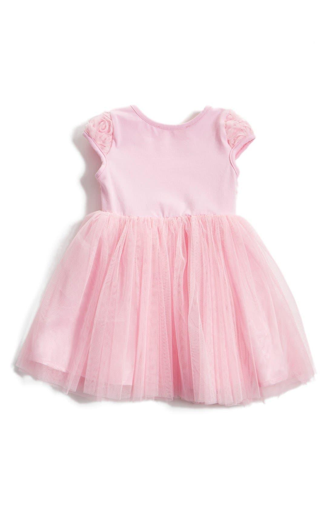 Short Sleeve Tulle Dress,                             Alternate thumbnail 2, color,                             PINK