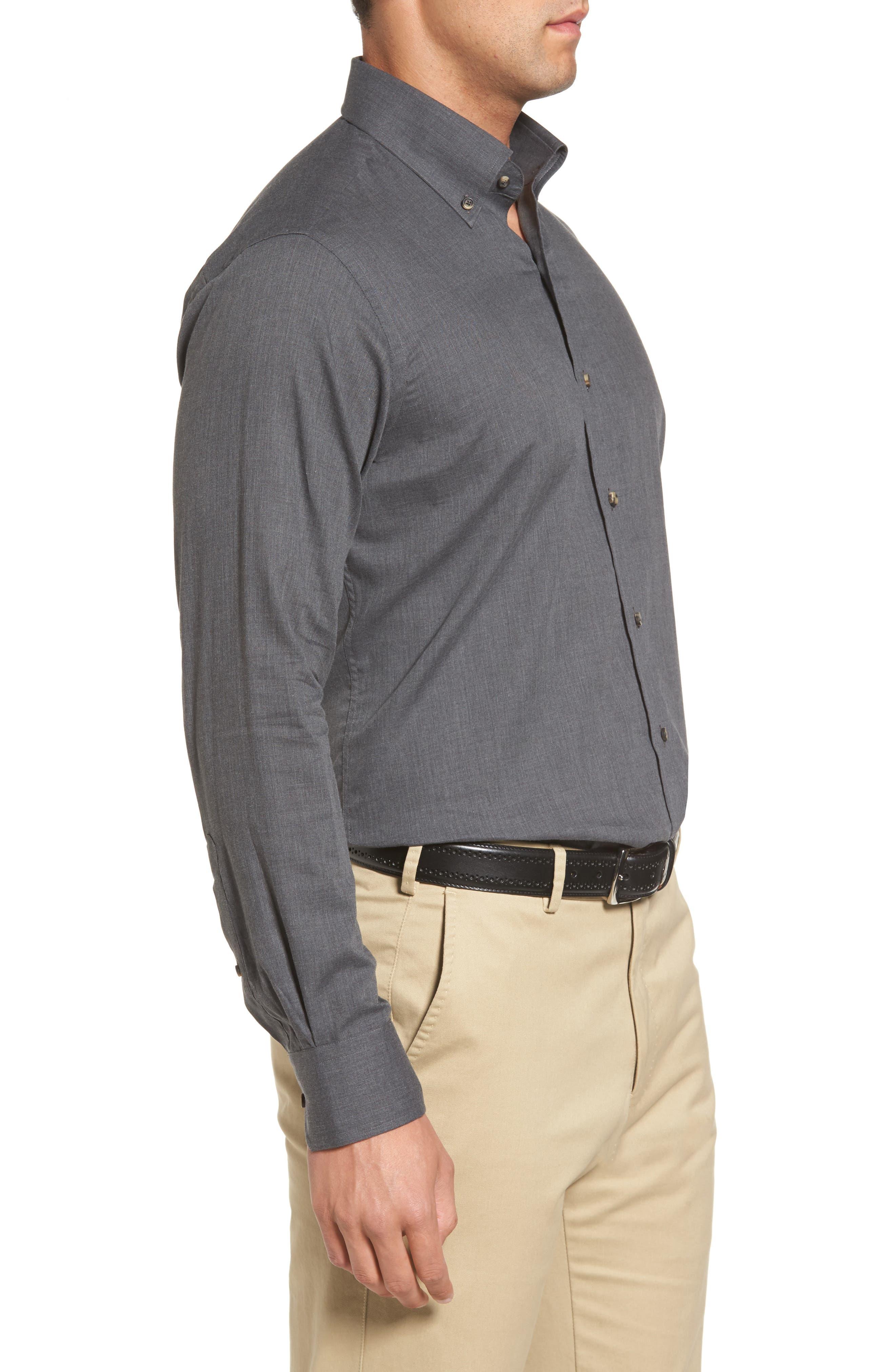 Peter Millar Regular Fit Mélange Herringbone Sport Shirt,                             Alternate thumbnail 3, color,                             039