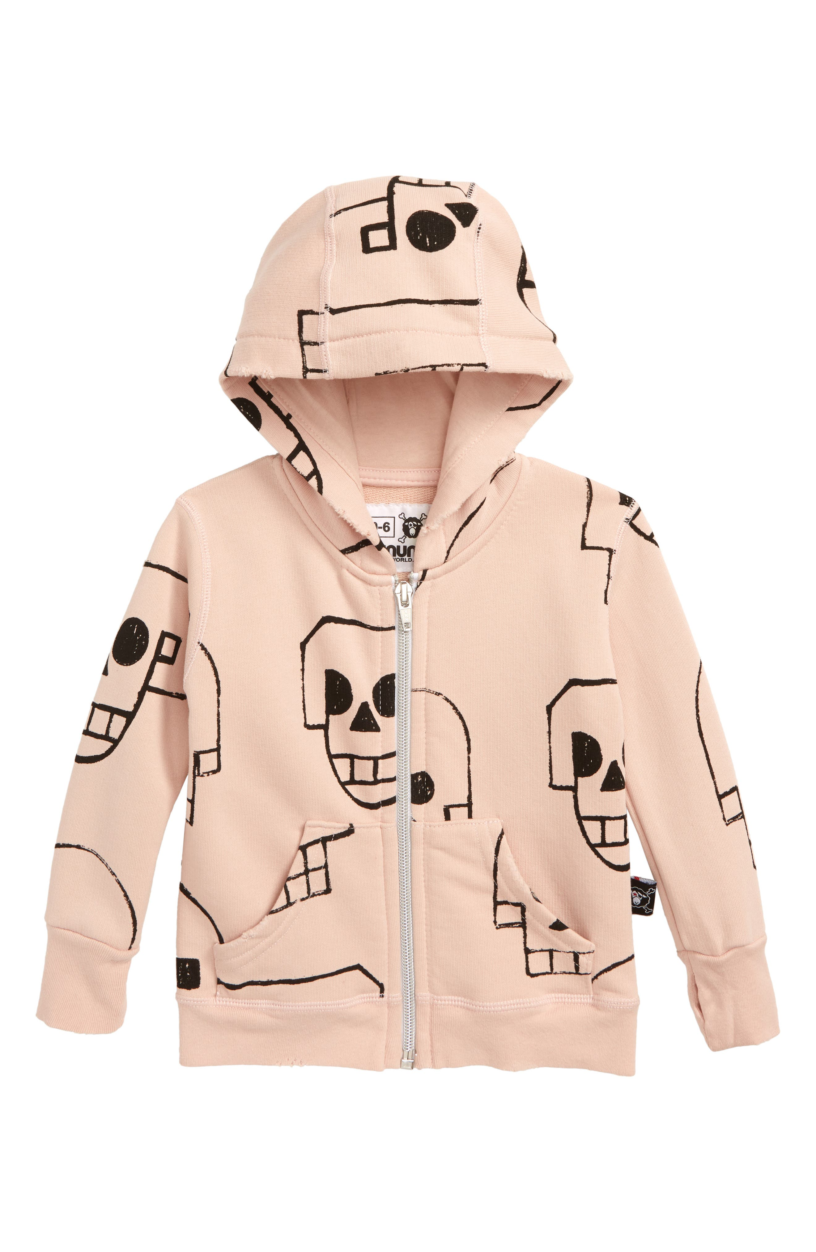 Skull Robot Zip Hoodie,                             Main thumbnail 1, color,                             POWDER PINK