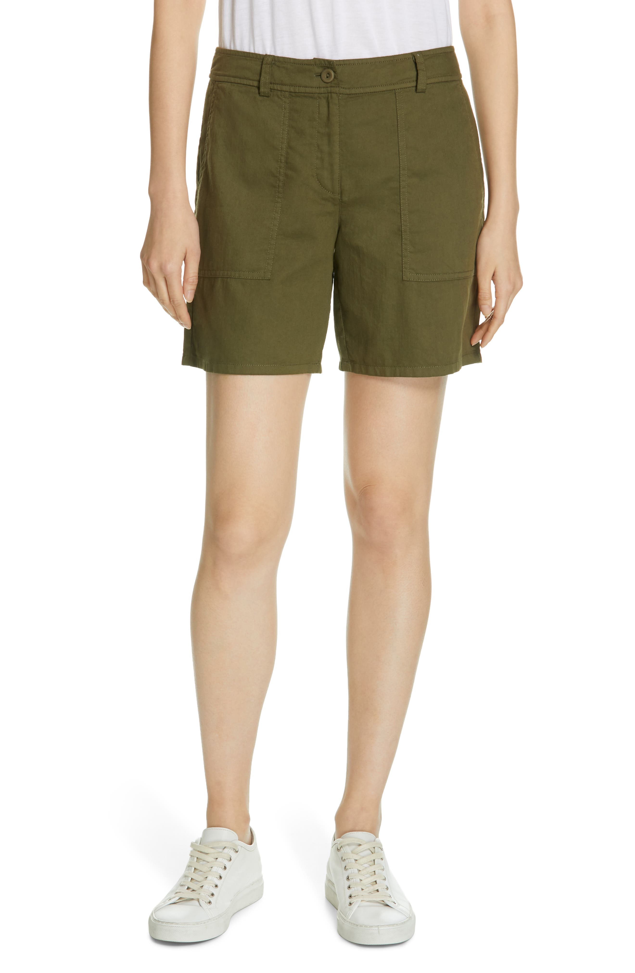 Petite Eileen Fisher Organic Cotton Walking Shorts, Ivory