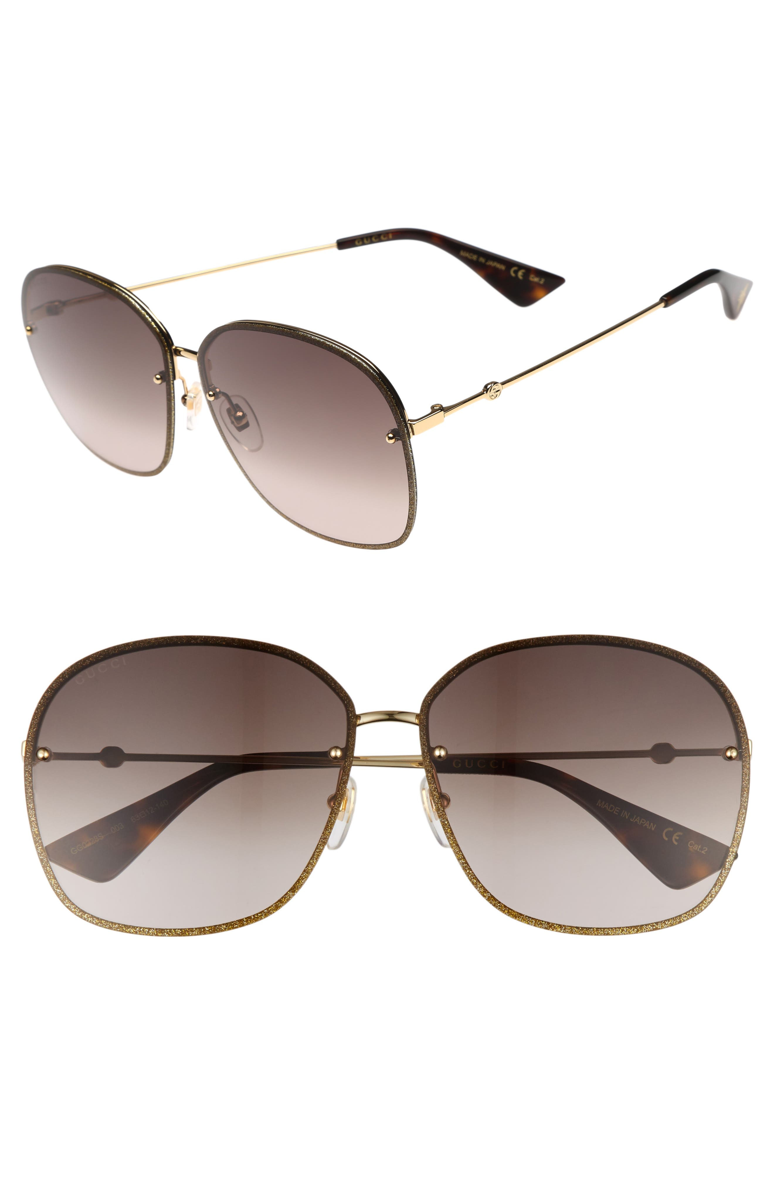 63mm Oversize Square Sunglasses,                             Main thumbnail 1, color,                             GOLD/ BROWN