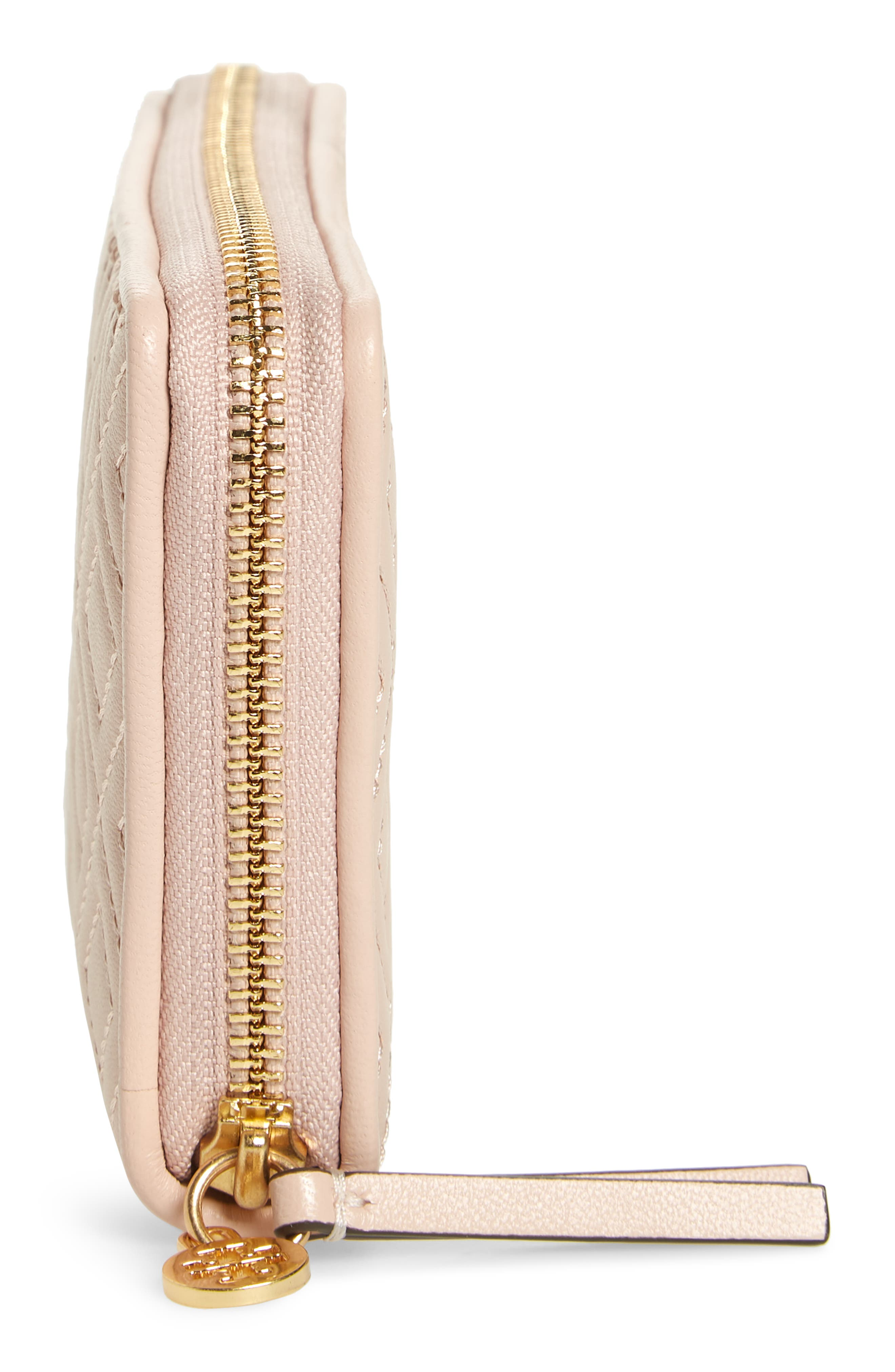 Fleming Leather Zip Around Wallet,                             Alternate thumbnail 5, color,                             SHELL PINK