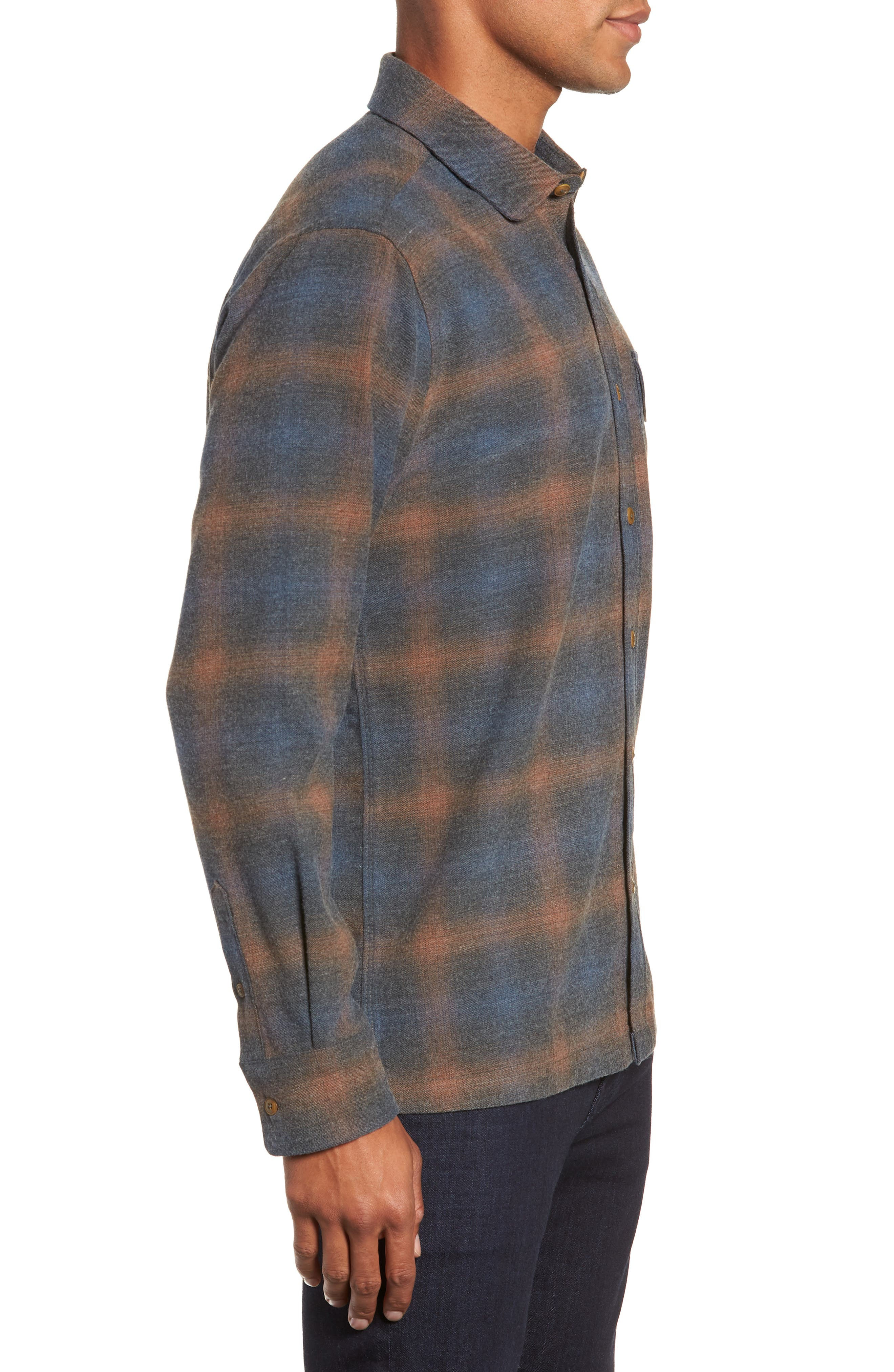 Washburn Regular Fit Plaid Stretch Brushed Flannel Shirt,                             Alternate thumbnail 4, color,                             BLUE WING TEAL HEATHER