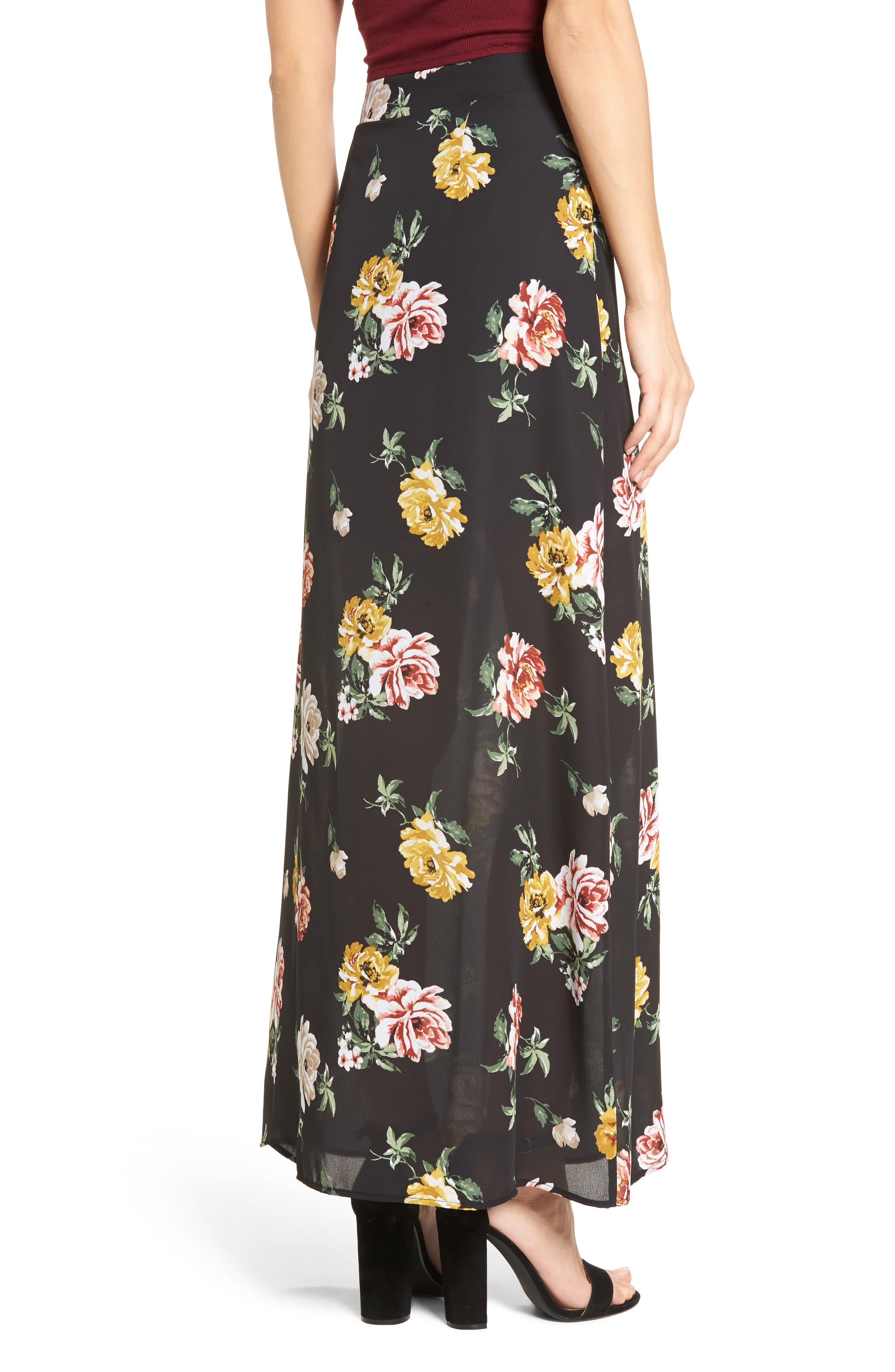 Floral Print Maxi Skirt,                             Alternate thumbnail 2, color,                             001