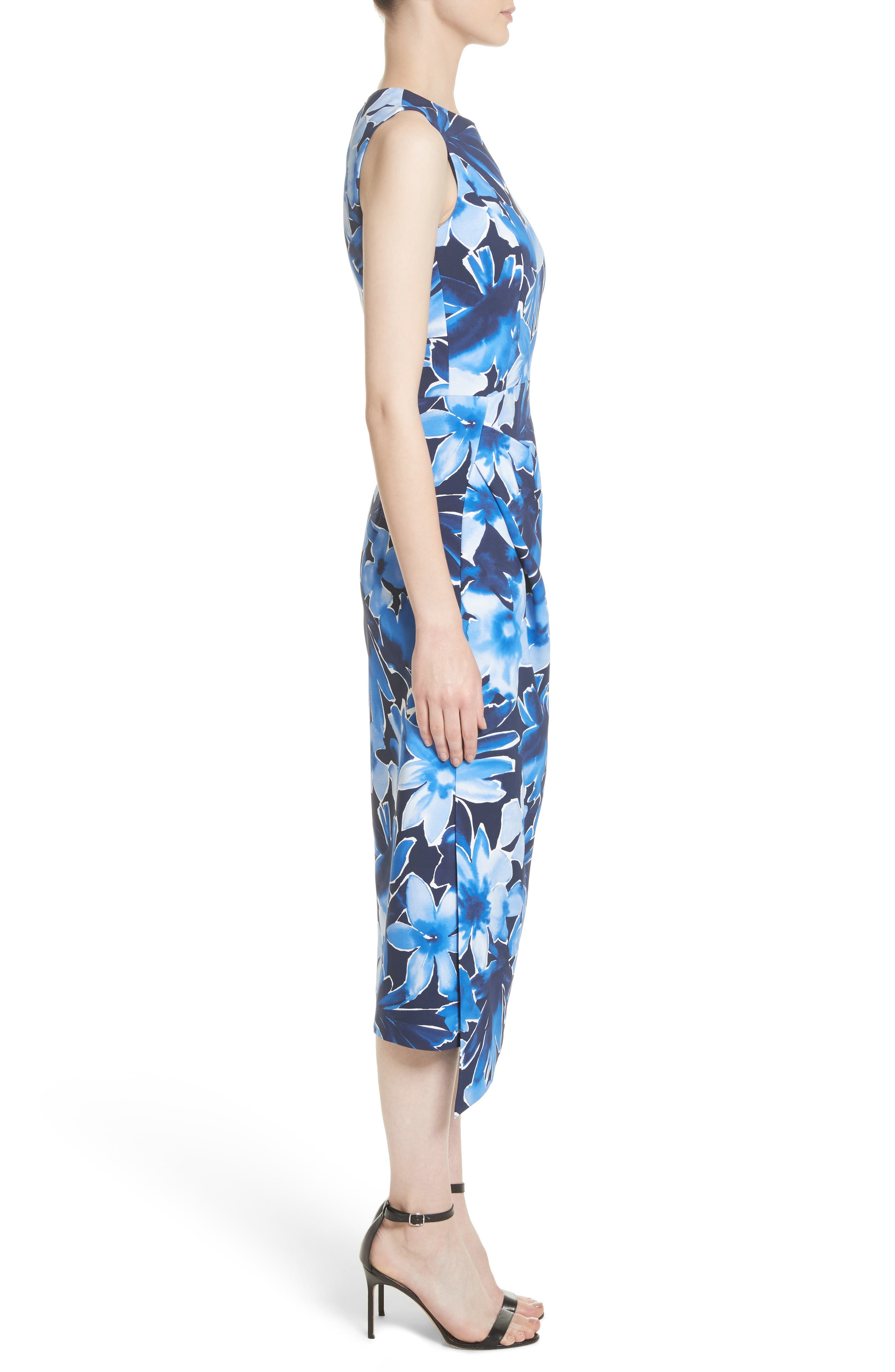 Draped Floral Print Sheath Dress,                             Alternate thumbnail 3, color,                             478