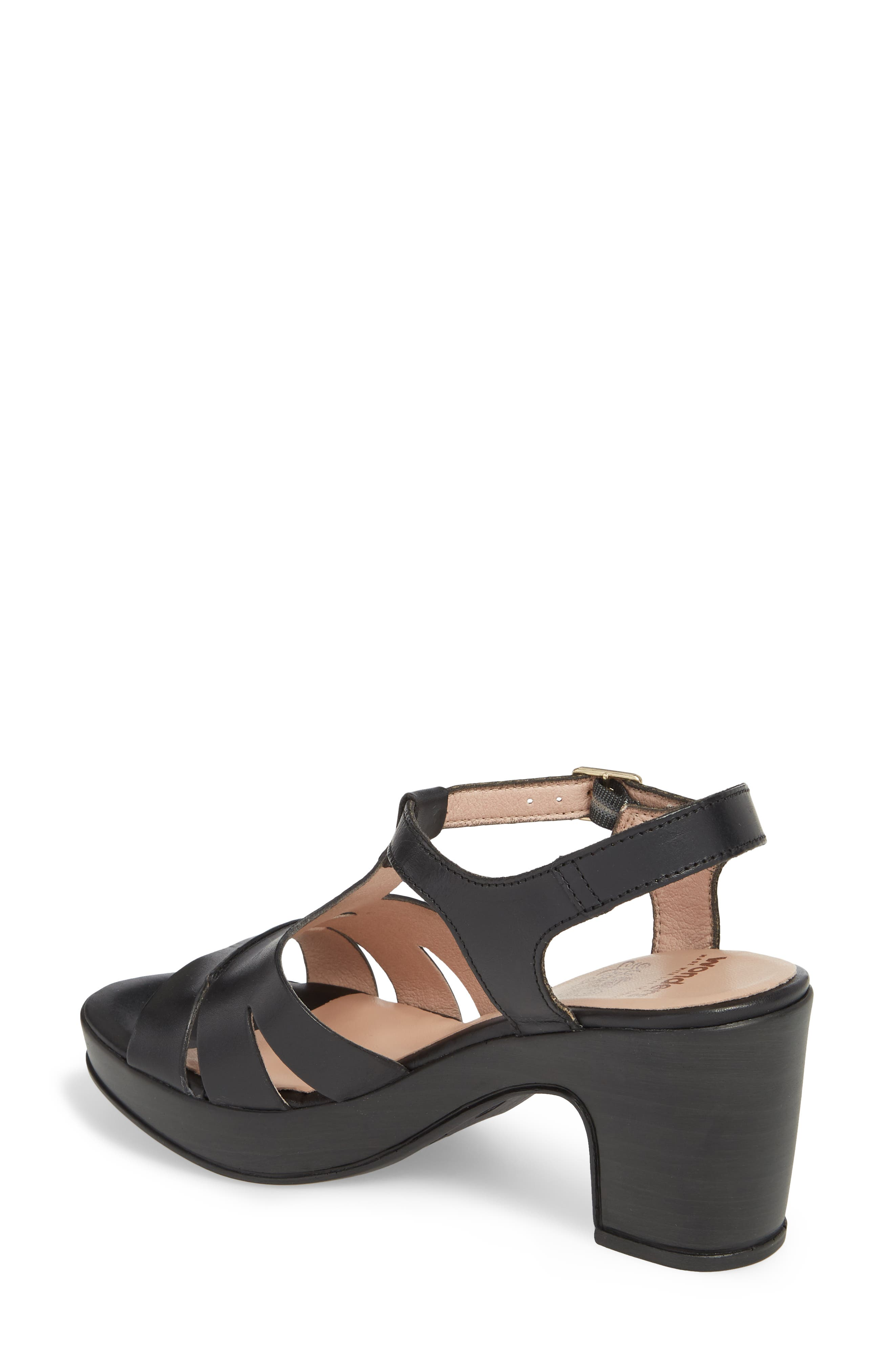 Block Heel Platform Sandal,                             Alternate thumbnail 2, color,                             BLACK LEATHER