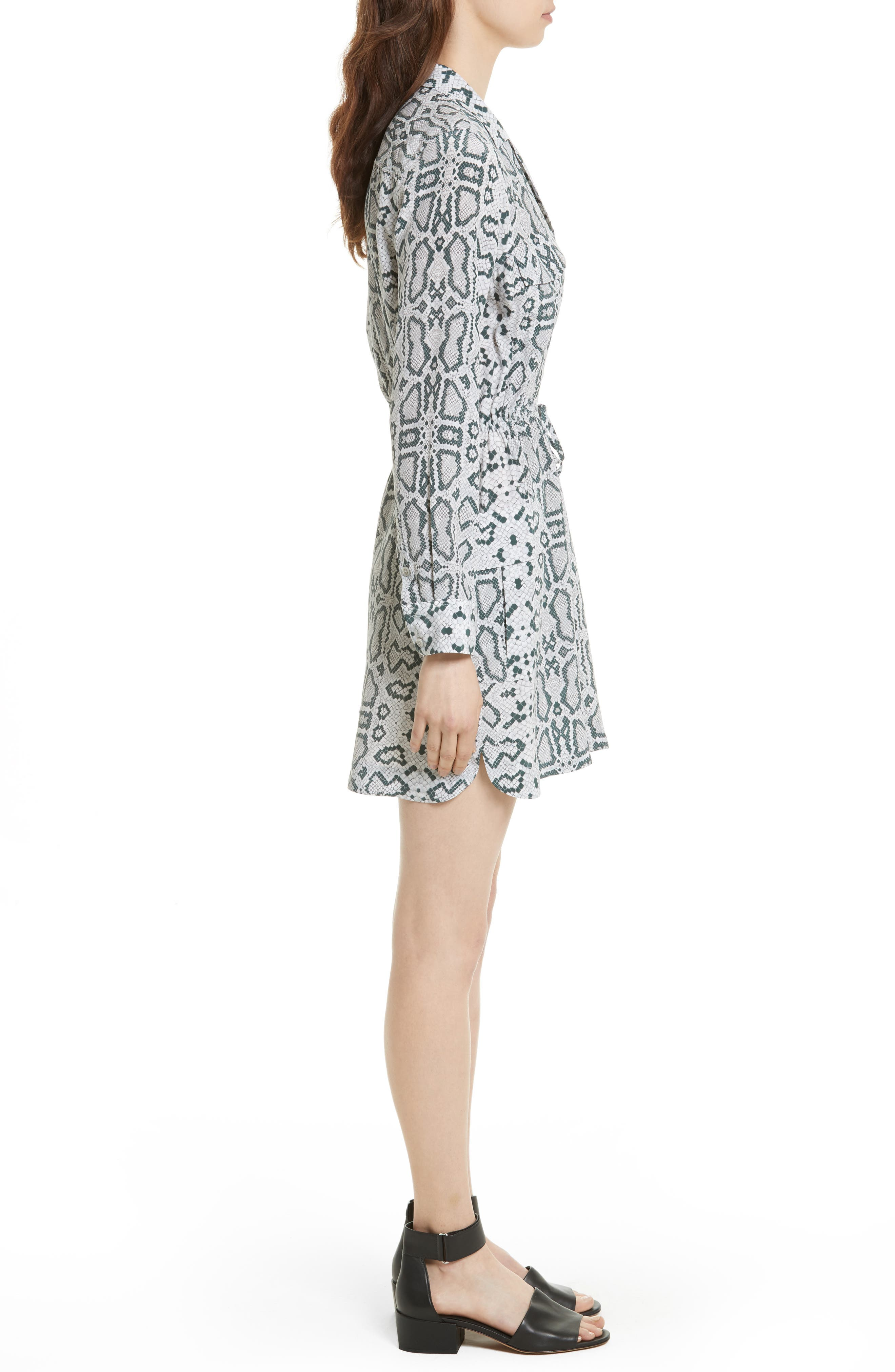 Emmanuelle Snake Print Silk Shirtdress,                             Alternate thumbnail 3, color,                             073