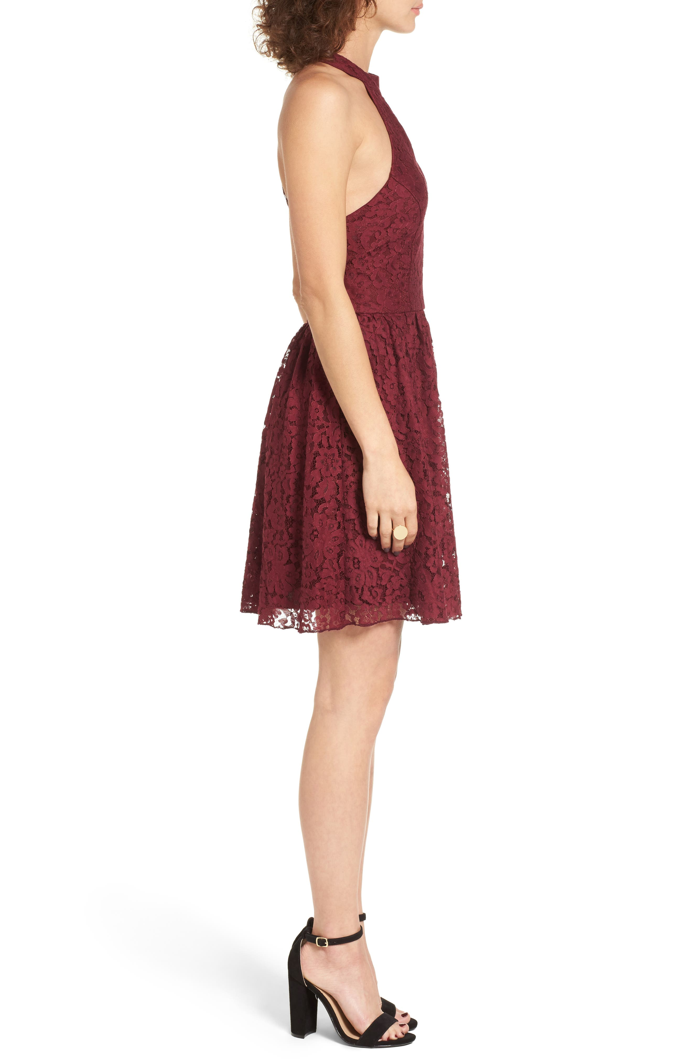 Gigi Lace Fit & Flare Dress,                             Alternate thumbnail 6, color,