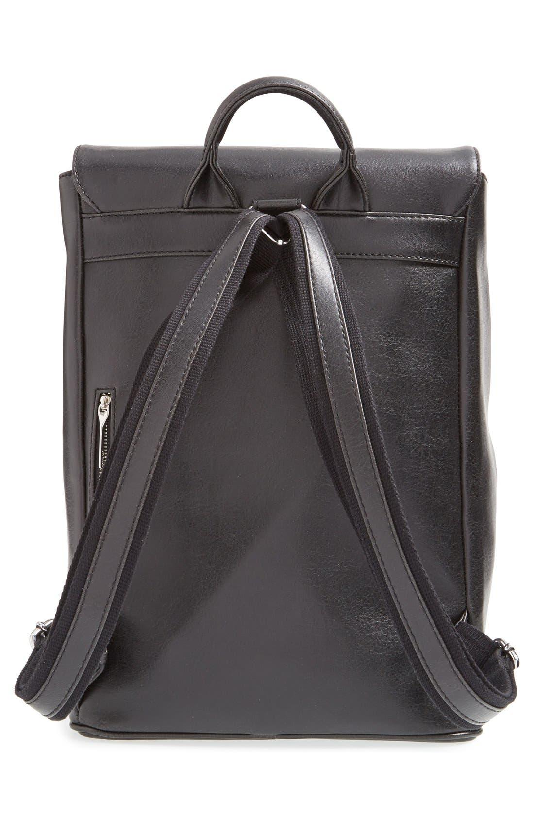 'Fabi' Faux Leather Laptop Backpack,                             Alternate thumbnail 4, color,                             BLACK