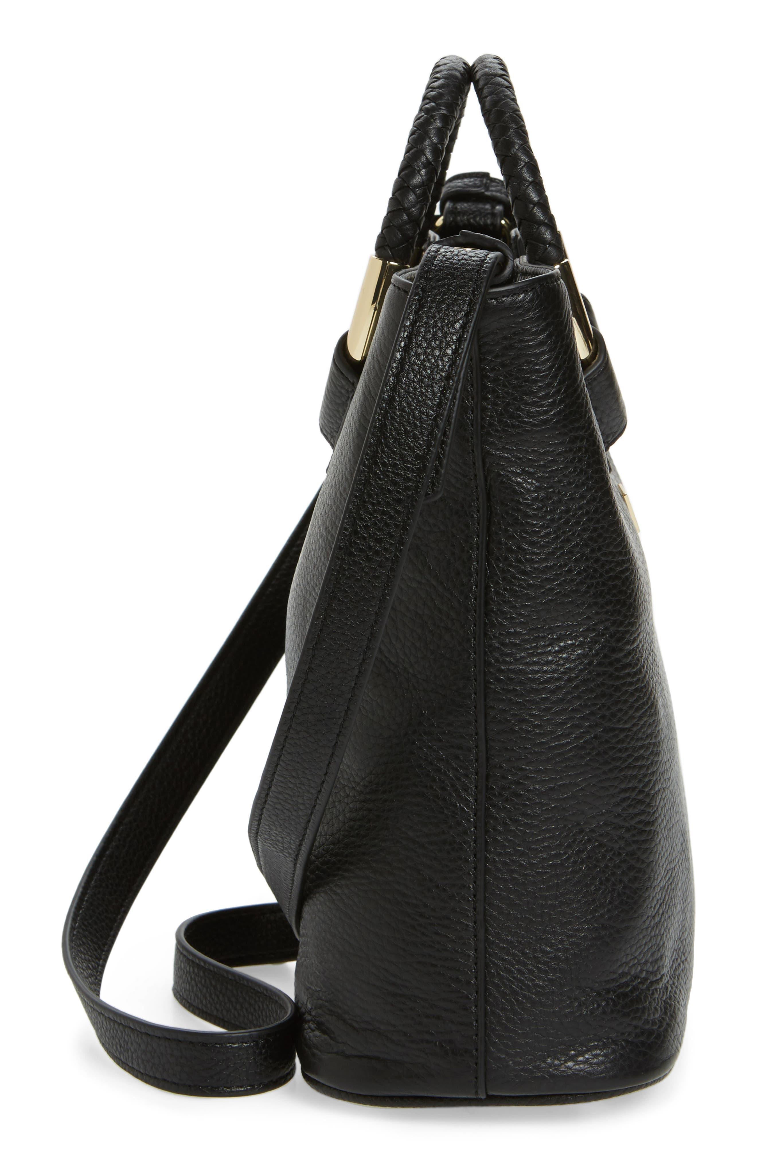 Small Elina Leather Crossbody Bag,                             Alternate thumbnail 5, color,                             001