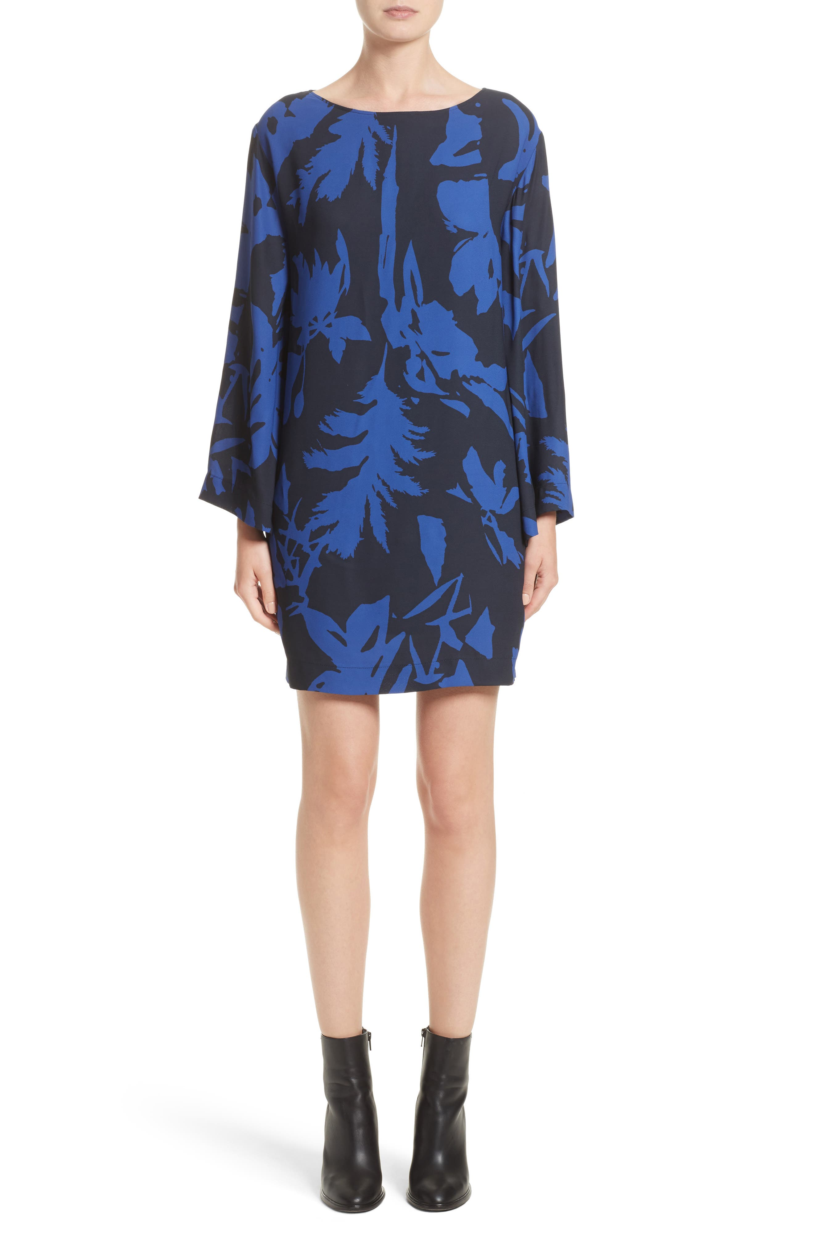 Floral Crepe Bell Sleeve Dress,                         Main,                         color, 410