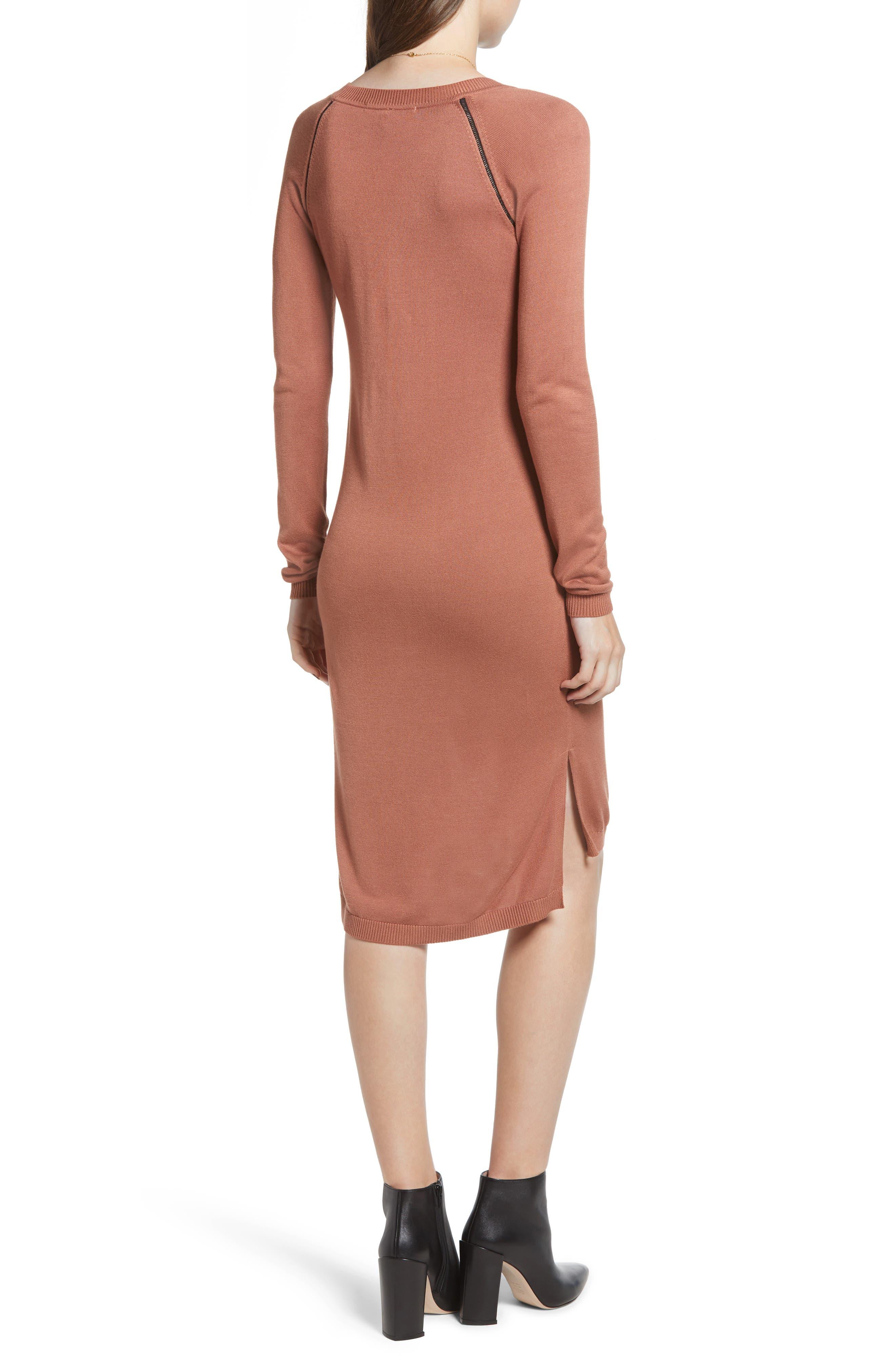 Ladder Inset Sweater Dress,                             Alternate thumbnail 2, color,                             VINTAGE ROSE