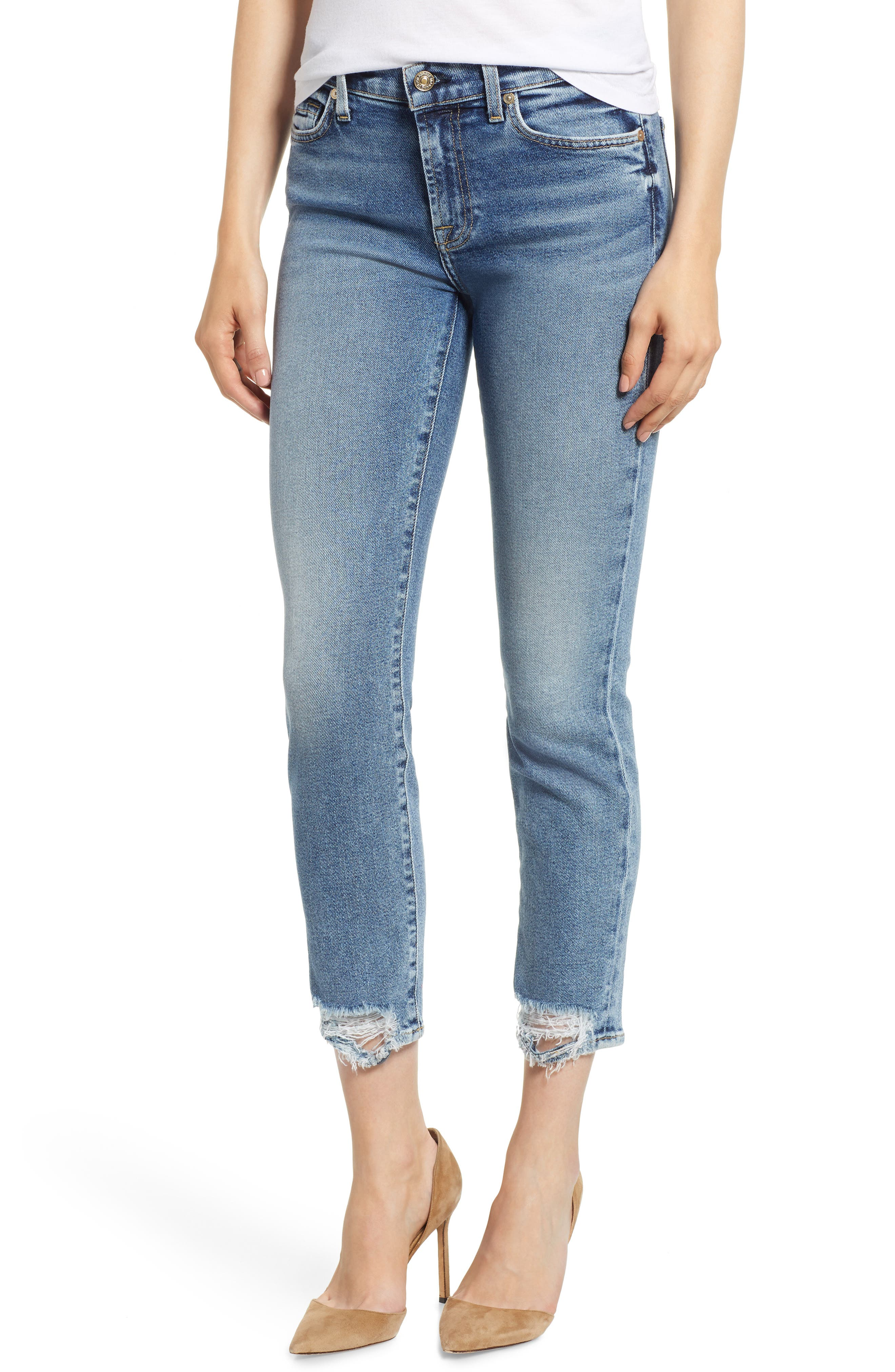 Luxe Vintage Roxanne Rip Hem Ankle Slim Jeans,                             Main thumbnail 1, color,                             401