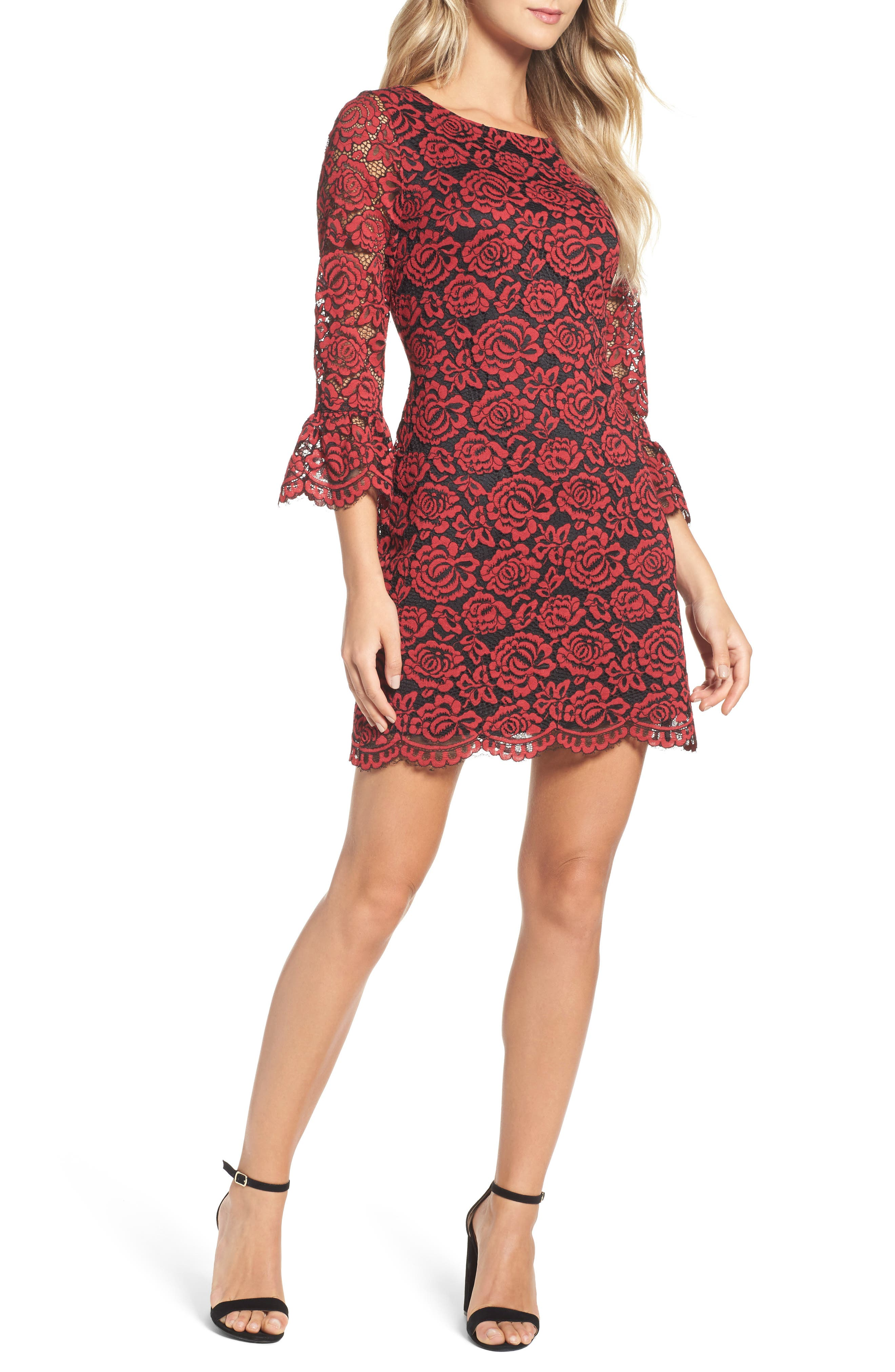 Lace Bell Sleeve Dress,                             Main thumbnail 4, color,