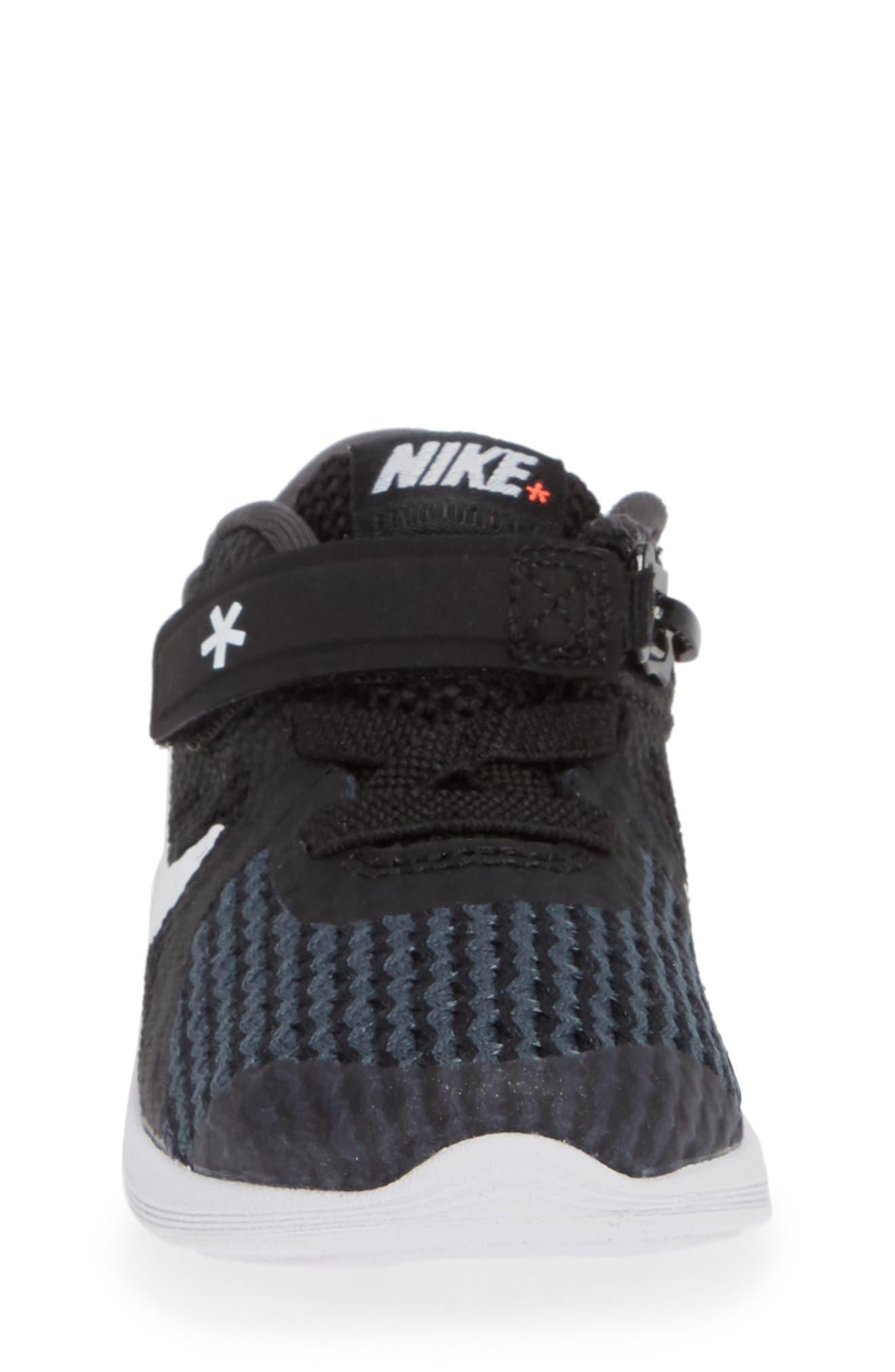 NIKE,                             Revolution 4 Flyease Sneaker,                             Alternate thumbnail 4, color,                             BLACK TOTAL CRIMSON