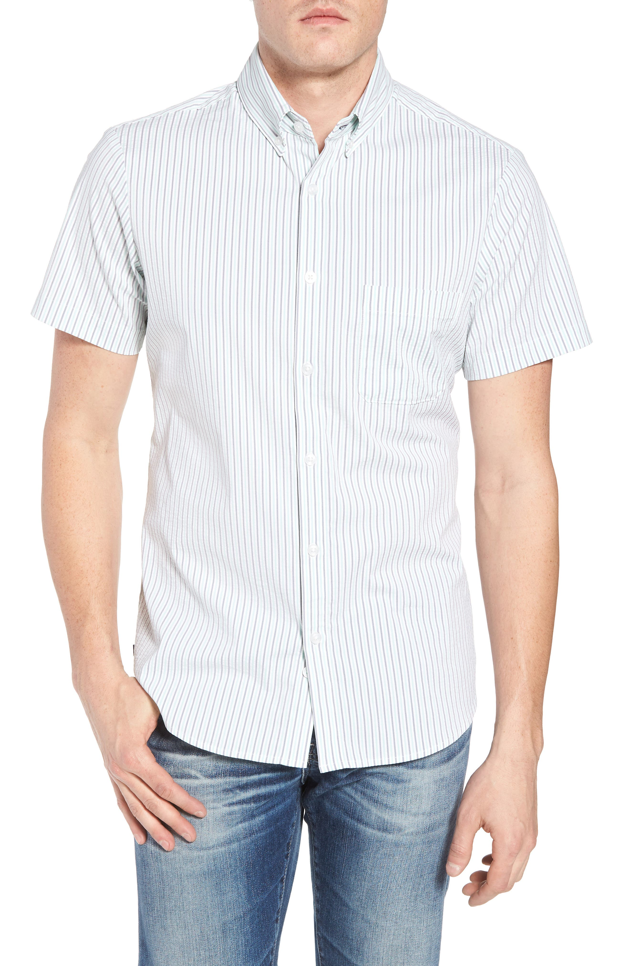 Eastland Short Sleeve Sport Shirt,                         Main,                         color, GREEN