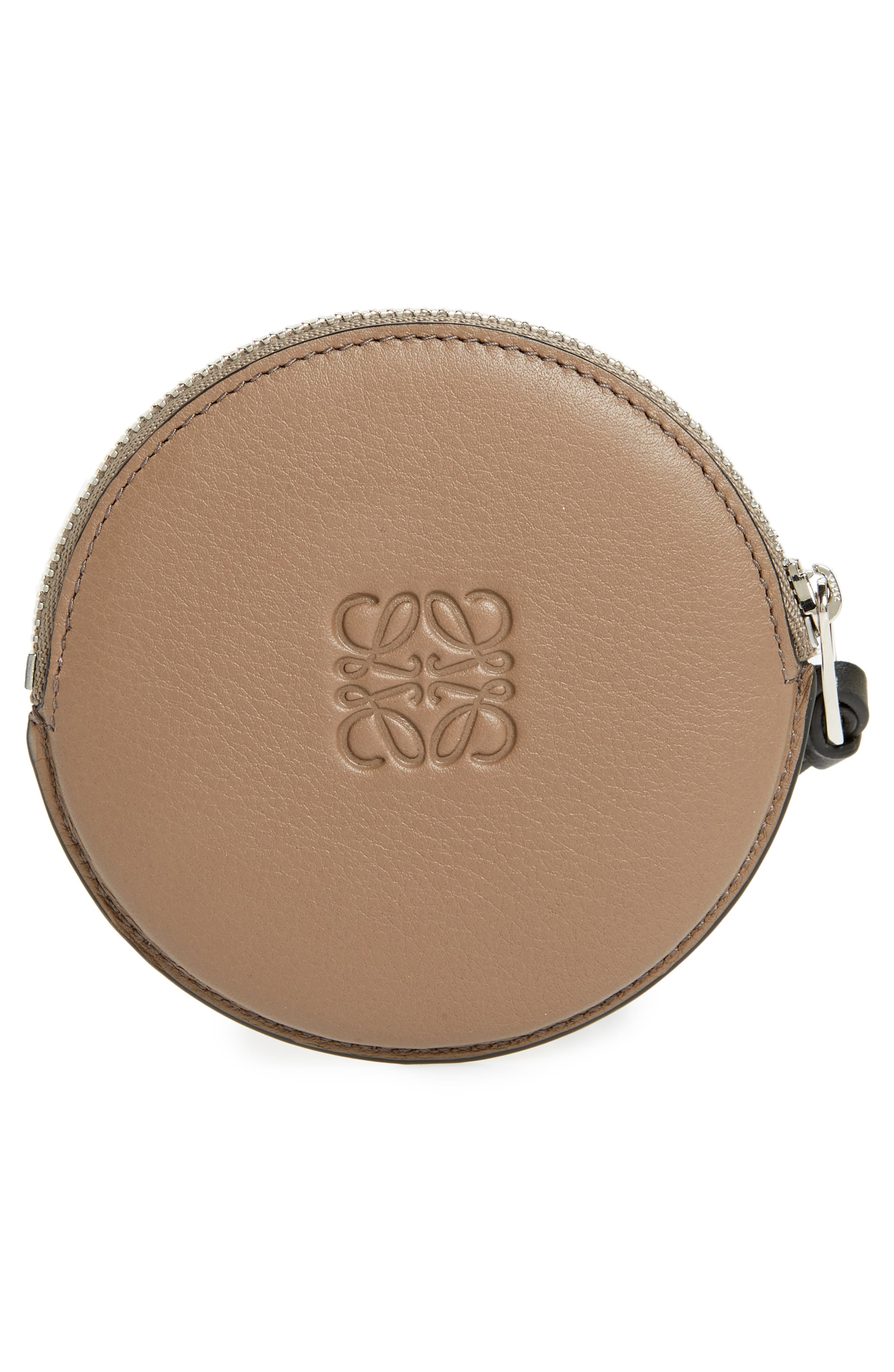 Skull Round Leather Zip Pouch,                             Alternate thumbnail 3, color,                             922