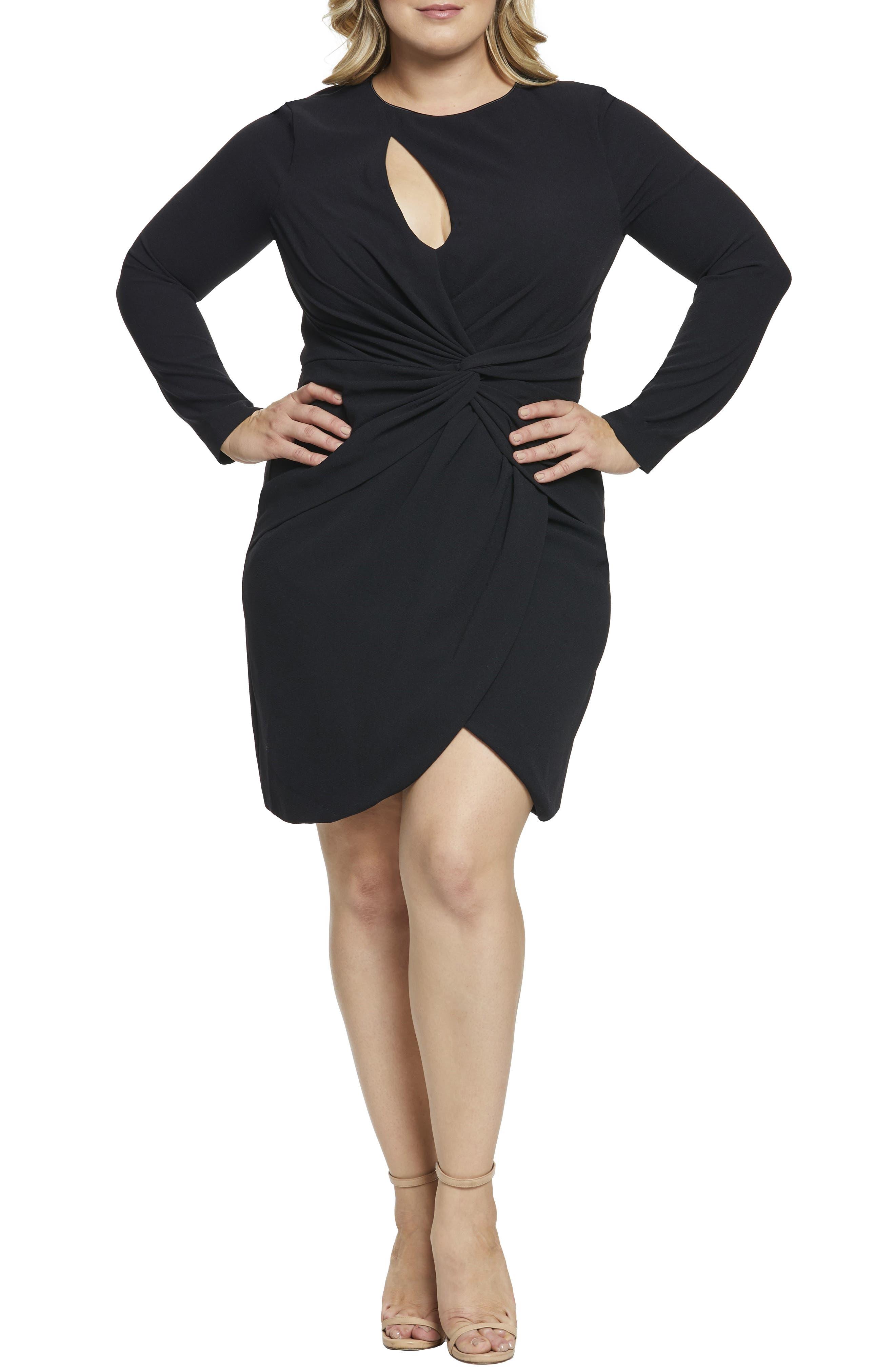 Plus Size Dress The Population Coby Twisted Faux Wrap Cocktail Dress, Black