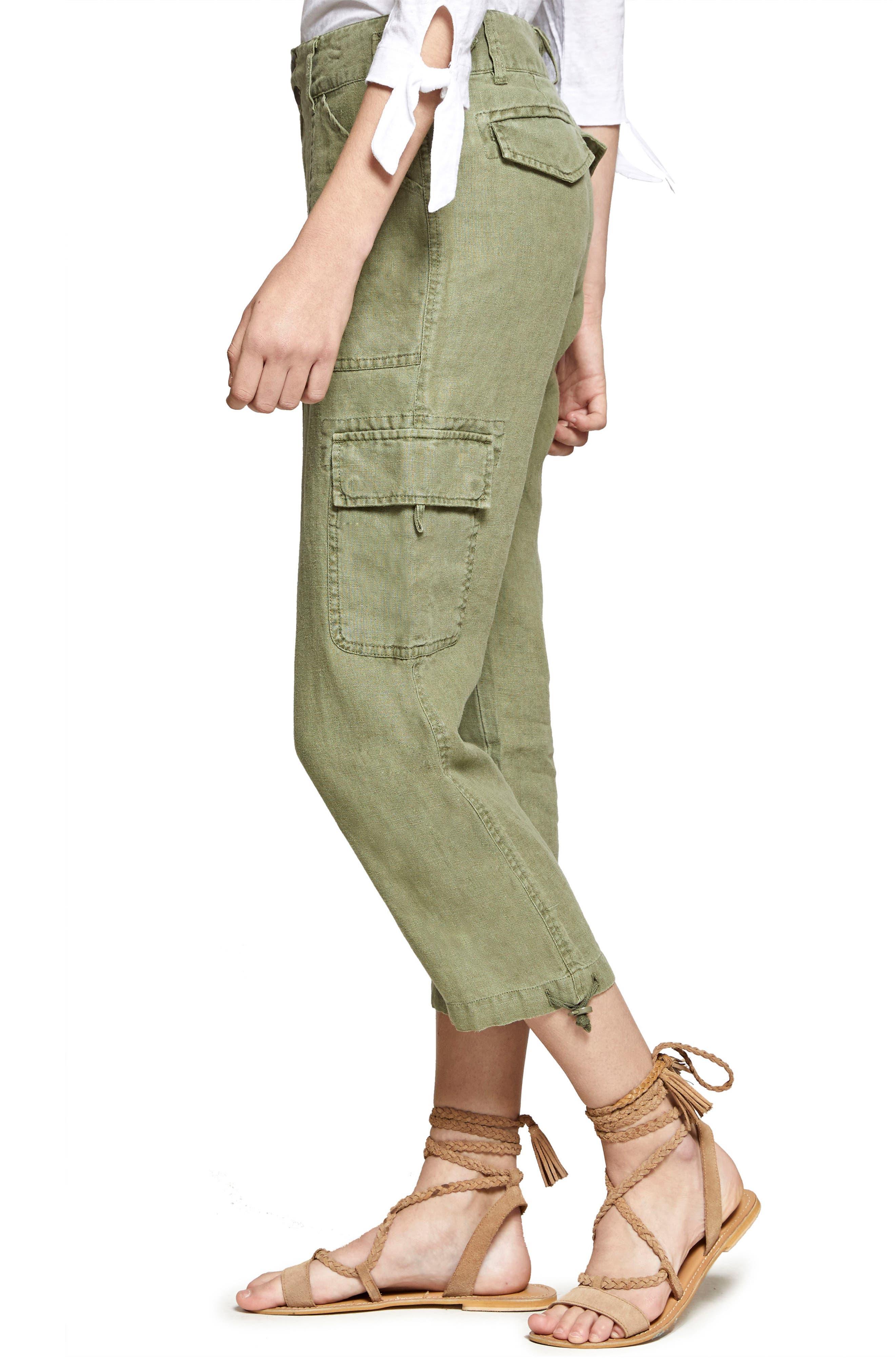 Terrain Linen Crop Cargo Pants,                             Alternate thumbnail 25, color,
